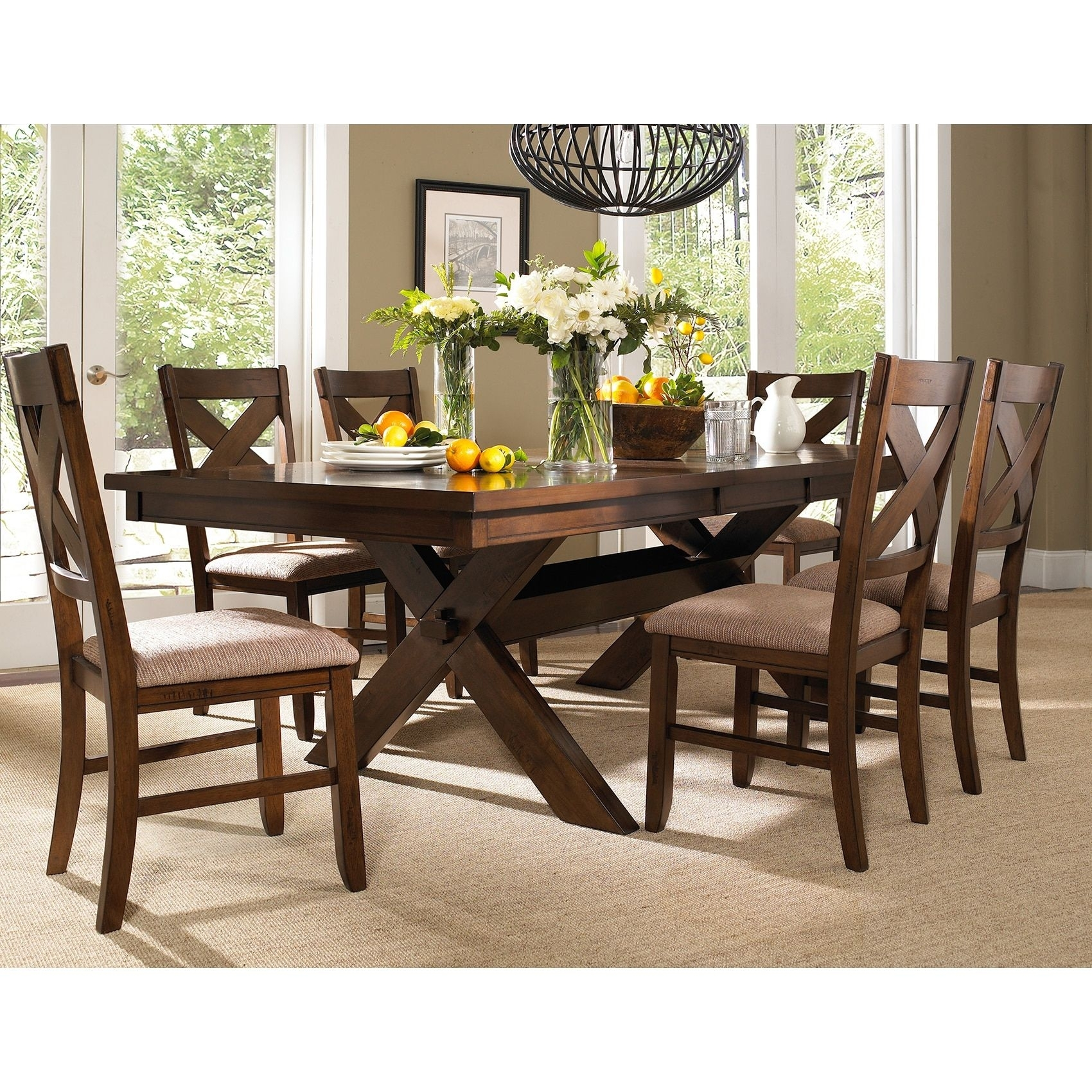 Featured Image of Craftsman 7 Piece Rectangle Extension Dining Sets With Arm & Side Chairs