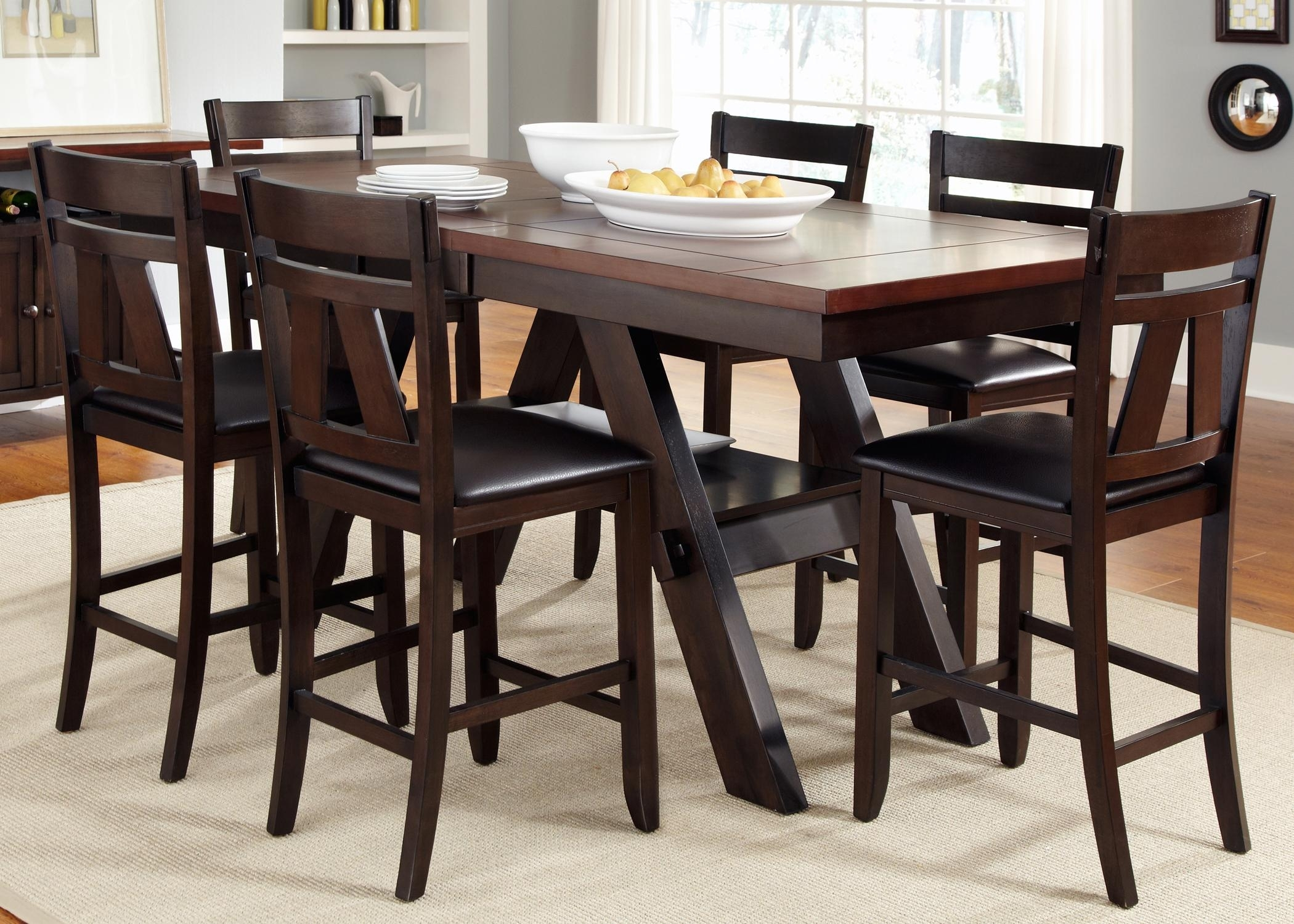 7 Piece Trestle Gathering Table With Counter Height Chairs Set Intended For Most Recently Released Parquet 7 Piece Dining Sets (View 17 of 20)