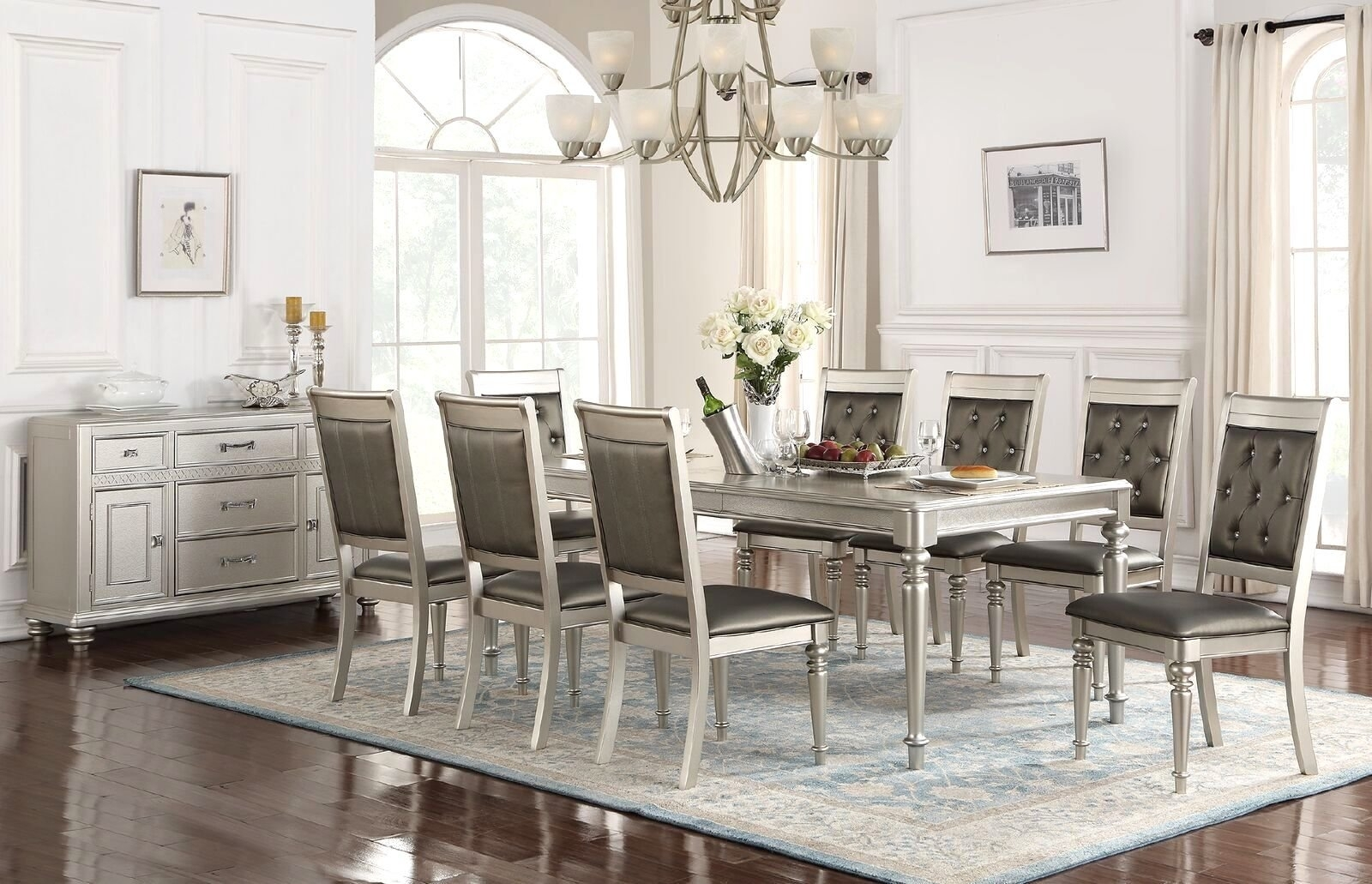 9 Piece Dining Sets You'll Love | Wayfair With Regard To Latest Caira Black 5 Piece Round Dining Sets With Diamond Back Side Chairs (Photo 17 of 20)