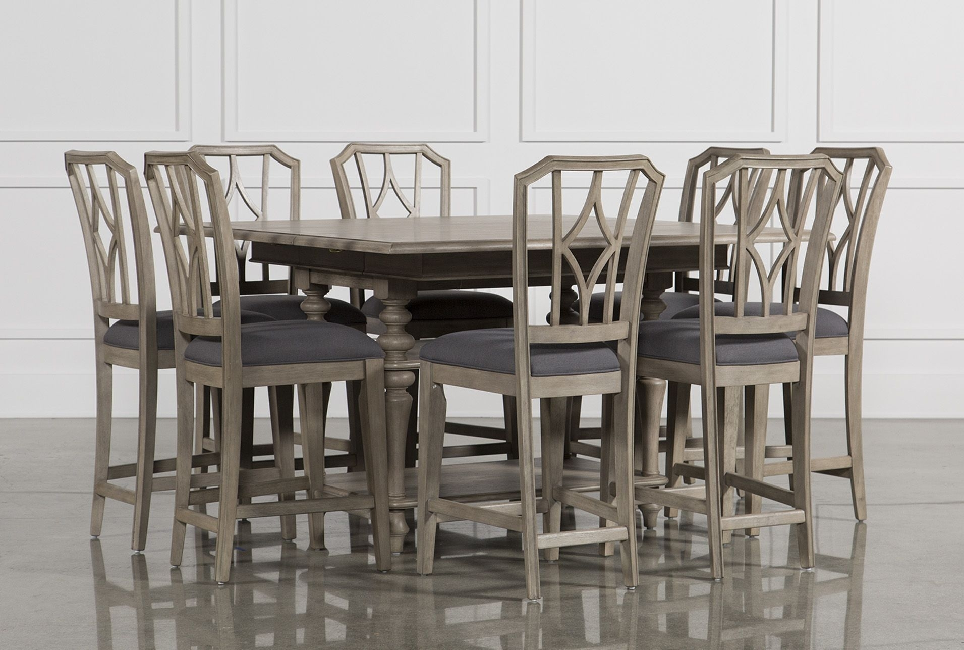 9 Piece Extension Counter Set W/diamond Back Stool, Caira, Grey With Regard To Most Recent Caira 9 Piece Extension Dining Sets (Image 5 of 20)