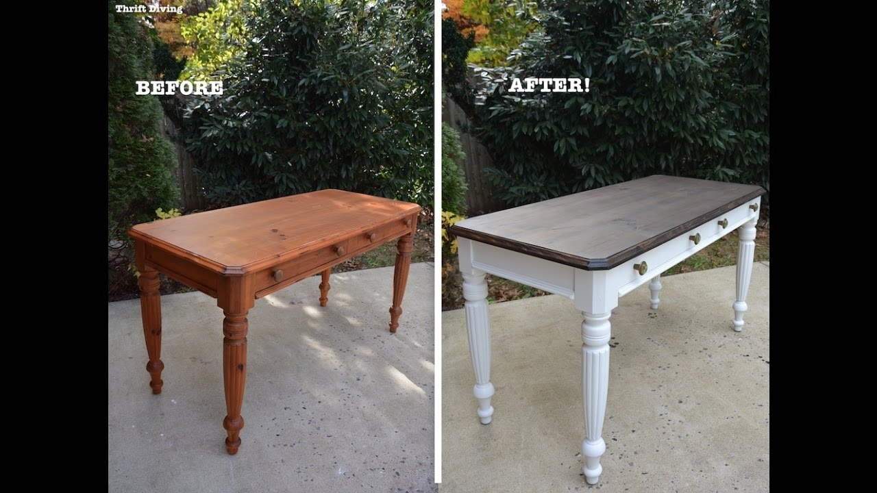 A 1980's Diy Desk Makeover Using Beyond Paint And Stain – Thrift Intended For Current Washed Old Oak & Waxed Black Legs Bar Tables (View 10 of 20)