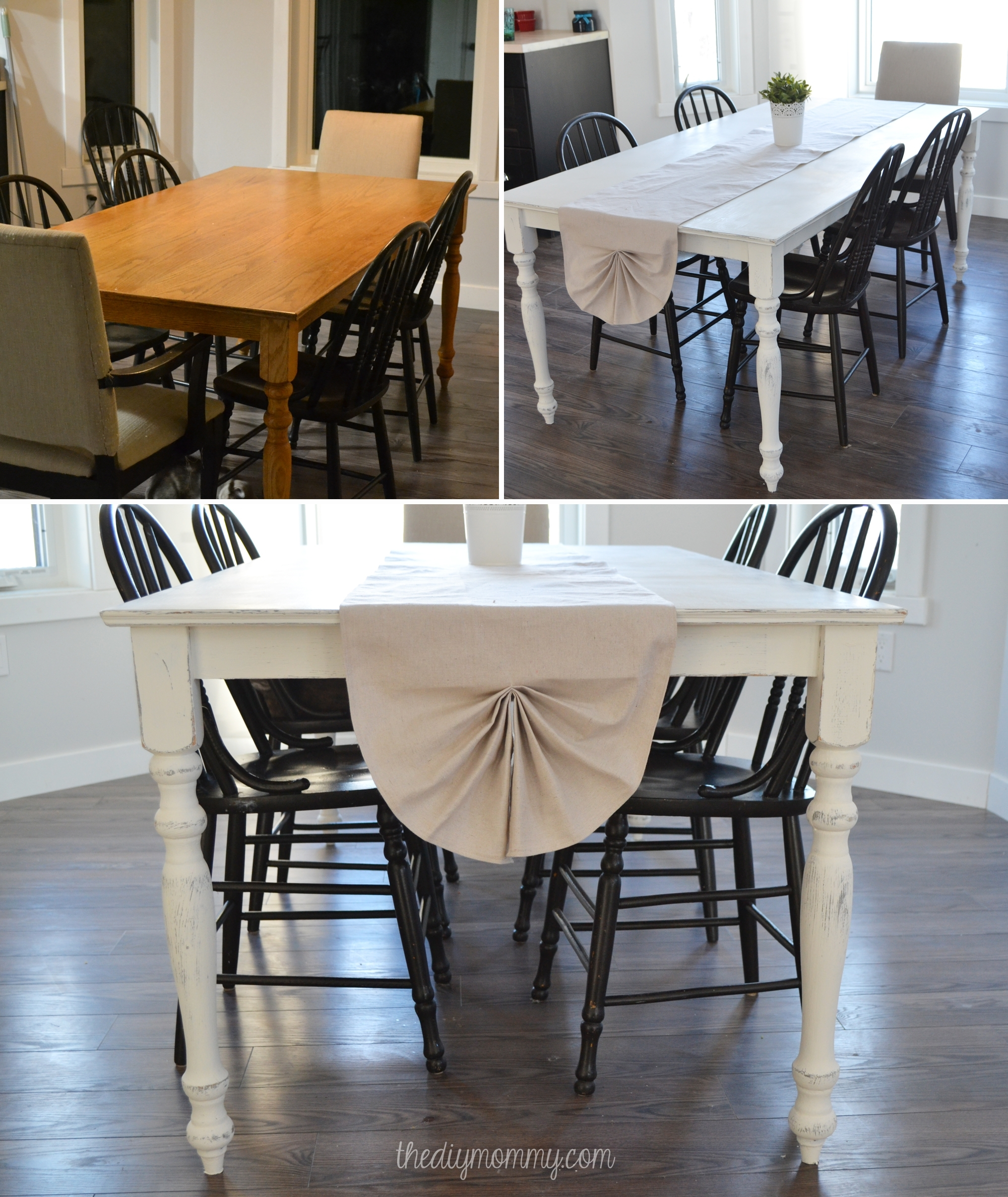 A Shabby Chic Farmhouse Table With Diy Chalk Paint Pertaining To Latest Washed Old Oak & Waxed Black Legs Bar Tables (View 18 of 20)