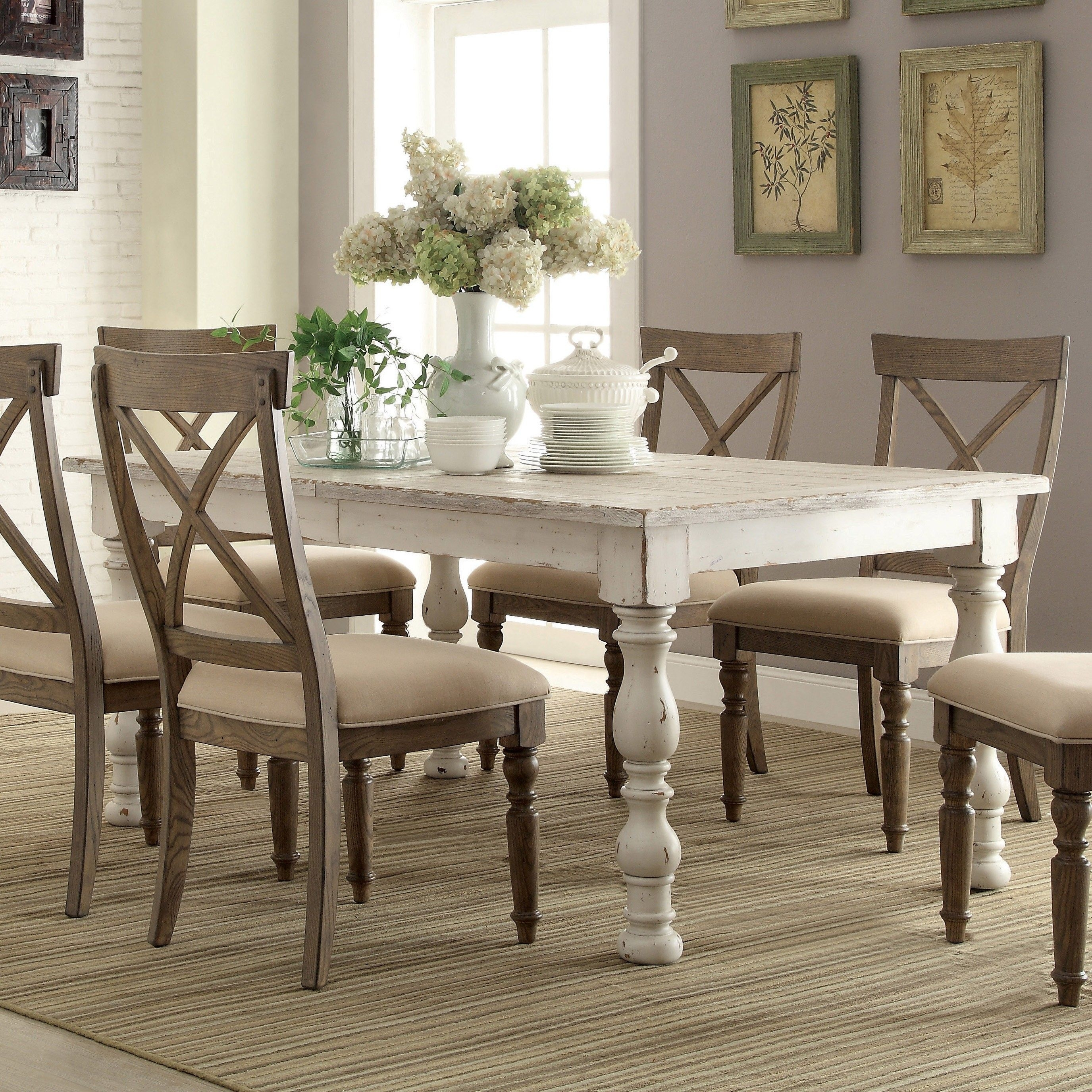 Aberdeen Wood Rectangular Dining Table Only In Weathered Worn White For Current Laurent 7 Piece Rectangle Dining Sets With Wood Chairs (Image 1 of 20)