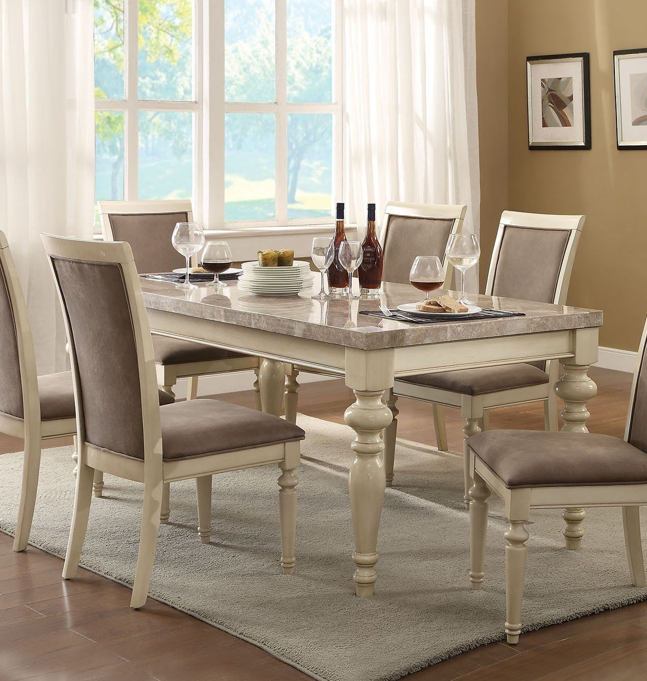 Acme 71705 Ryder Antique White Marble Top Dining Table | Home Inside Newest Caira Black 7 Piece Dining Sets With Arm Chairs & Diamond Back Chairs (View 9 of 20)