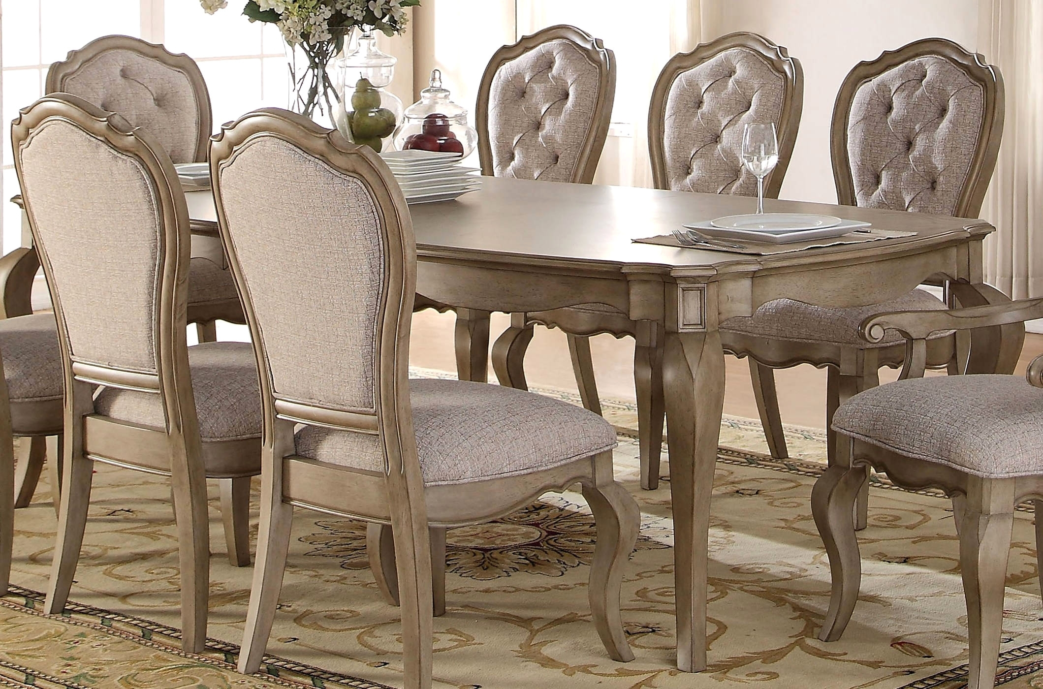 Acme Dining Table Furniture Chelmsford Antique Taupe Enlarge With Regard To Best And Newest Helms Round Dining Tables (View 11 of 20)