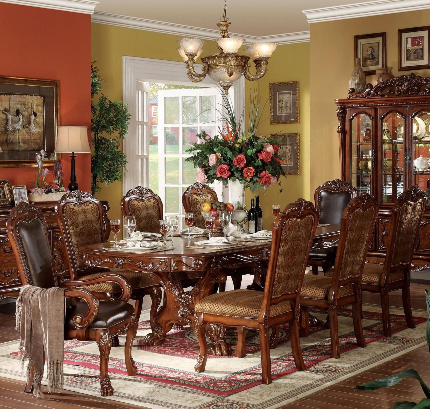 Acme Furniture Dresden 9 Piece Dining Table And Chair Set | Del Sol With Regard To Newest Chandler 7 Piece Extension Dining Sets With Fabric Side Chairs (View 16 of 20)