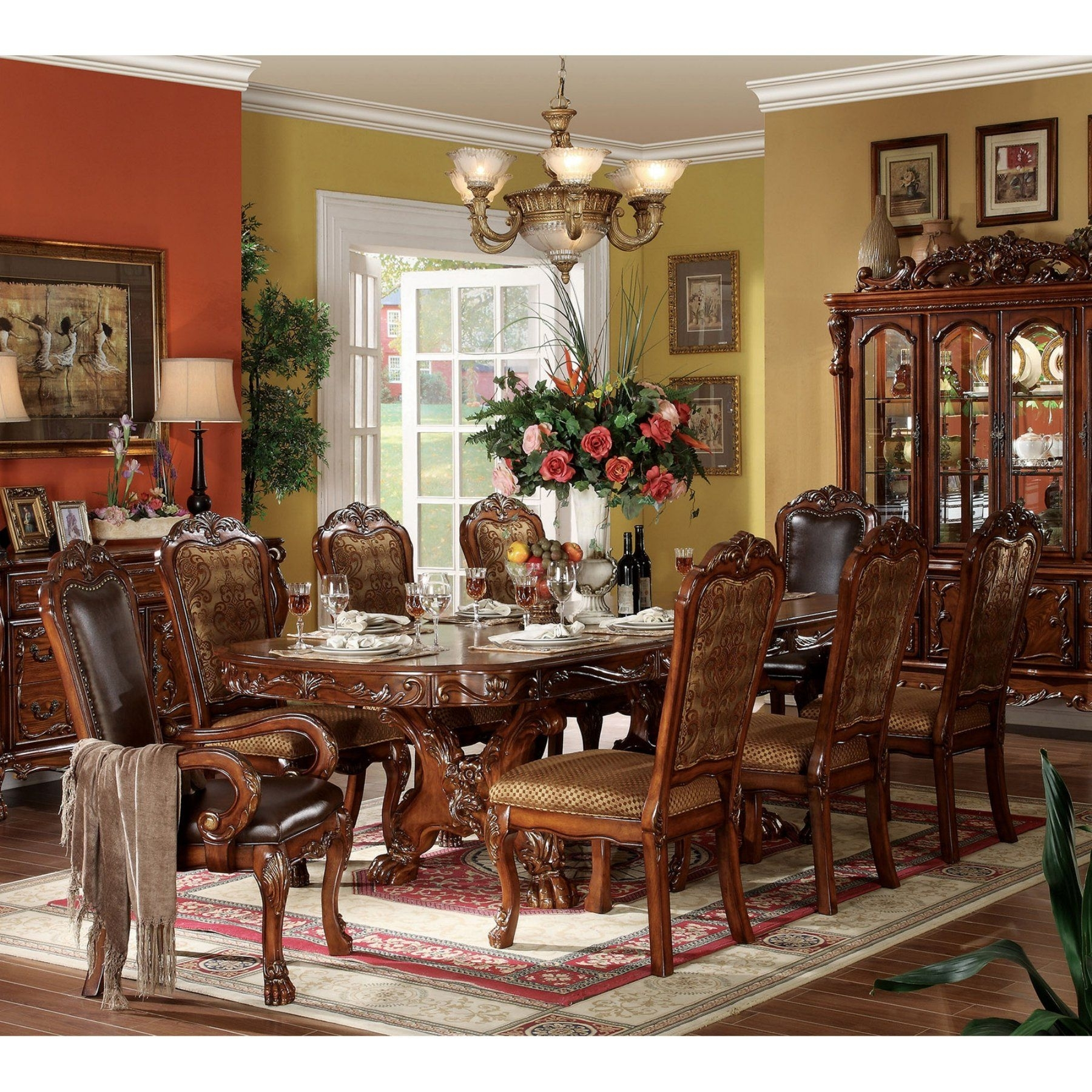 Acme Furniture Dresden Cherry 9 Piece Trestle Dining Table Set In Most Recently Released Craftsman 9 Piece Extension Dining Sets With Uph Side Chairs (Image 3 of 20)