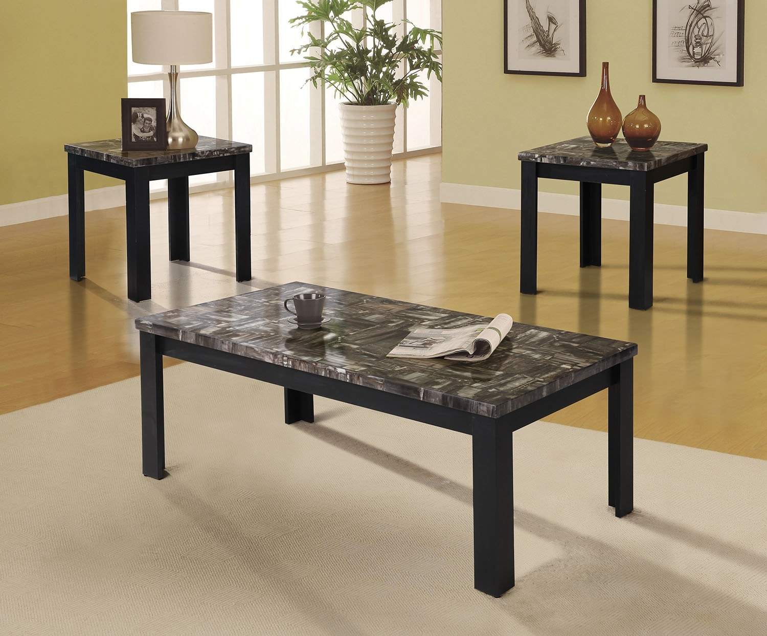 A&j Homes Studio Carly 3 Piece Coffee Table Set | Wayfair Intended For Current Carly Rectangle Dining Tables (Image 2 of 20)