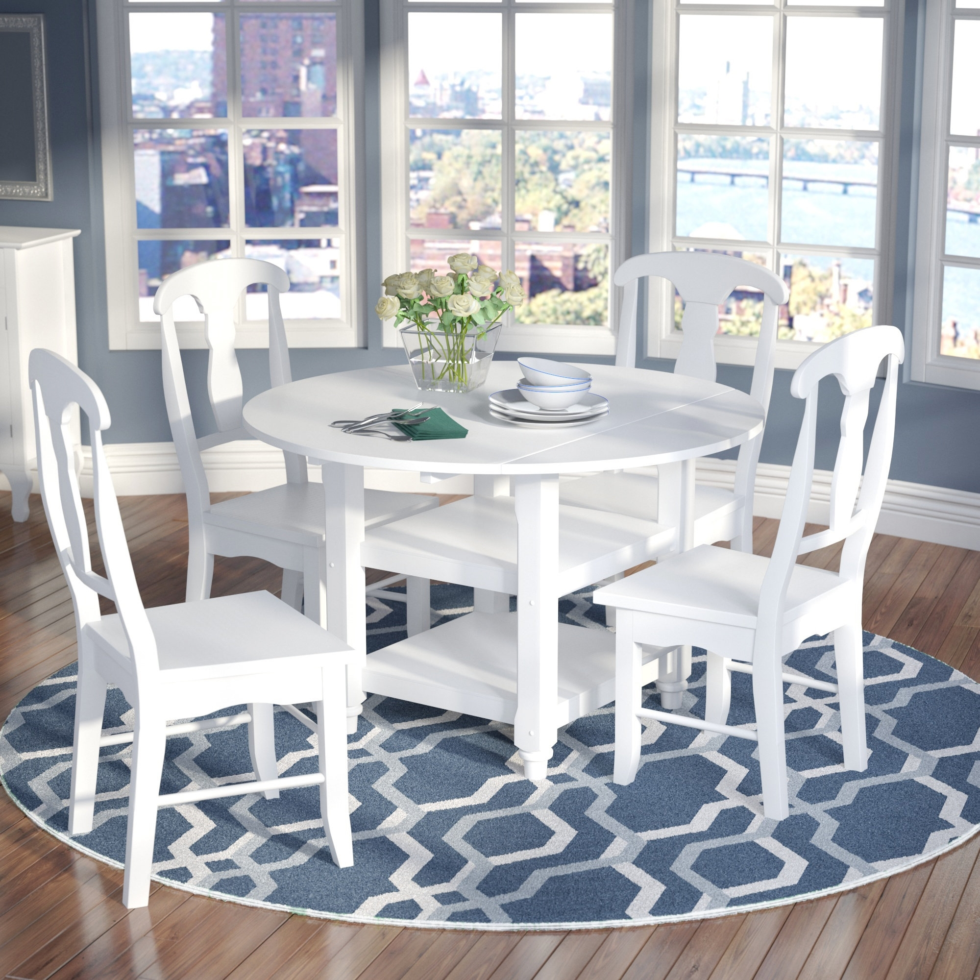 Alcott Hill Harwick 5 Piece Dining Set & Reviews | Wayfair For Recent Jaxon 5 Piece Extension Counter Sets With Fabric Stools (Image 1 of 20)