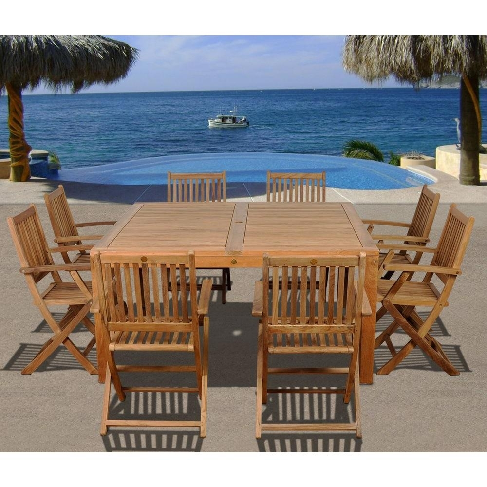 Amazonia Dubai Square 9 Piece Teak Patio Dining Set With Regard To Most Up To Date Outdoor Brasilia Teak High Dining Tables (View 14 of 20)