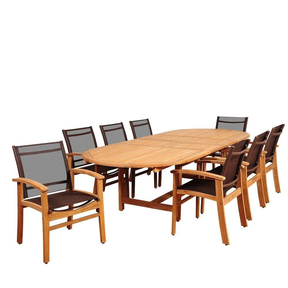Amazonia Elliot 9 Piece Teak Double Extendable Oval Patio Dining Set With Brown Sling Chairs Intended For Most Recently Released Outdoor Brasilia Teak High Dining Tables (View 9 of 20)