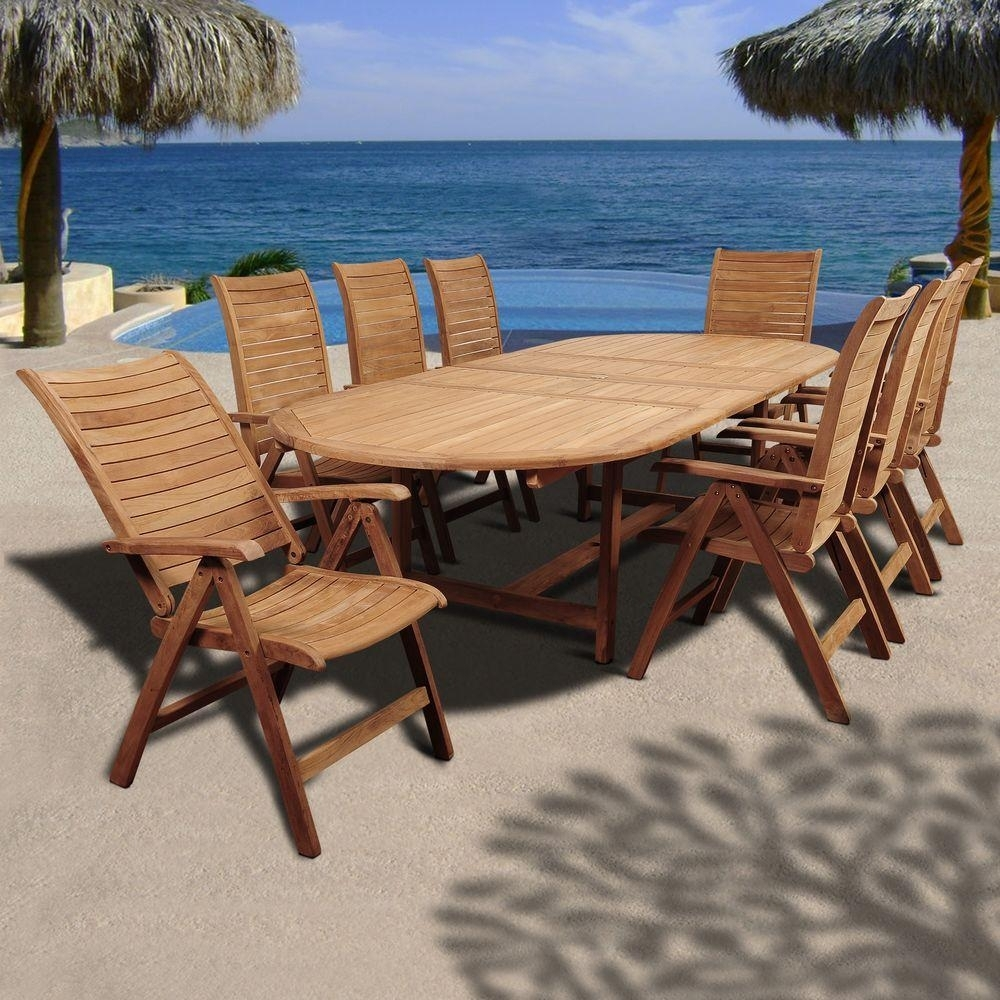 Amazonia Irving 9 Piece Teak Double Extendable Oval Patio Dining Set Inside 2018 Outdoor Brasilia Teak High Dining Tables (View 12 of 20)
