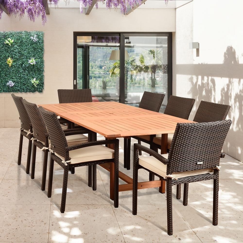 Amazonia Knight 9 Piece Teak/wicker Rectangular Outdoor Dining Set With Off White Cushions Pertaining To Current Outdoor Brasilia Teak High Dining Tables (View 8 of 20)