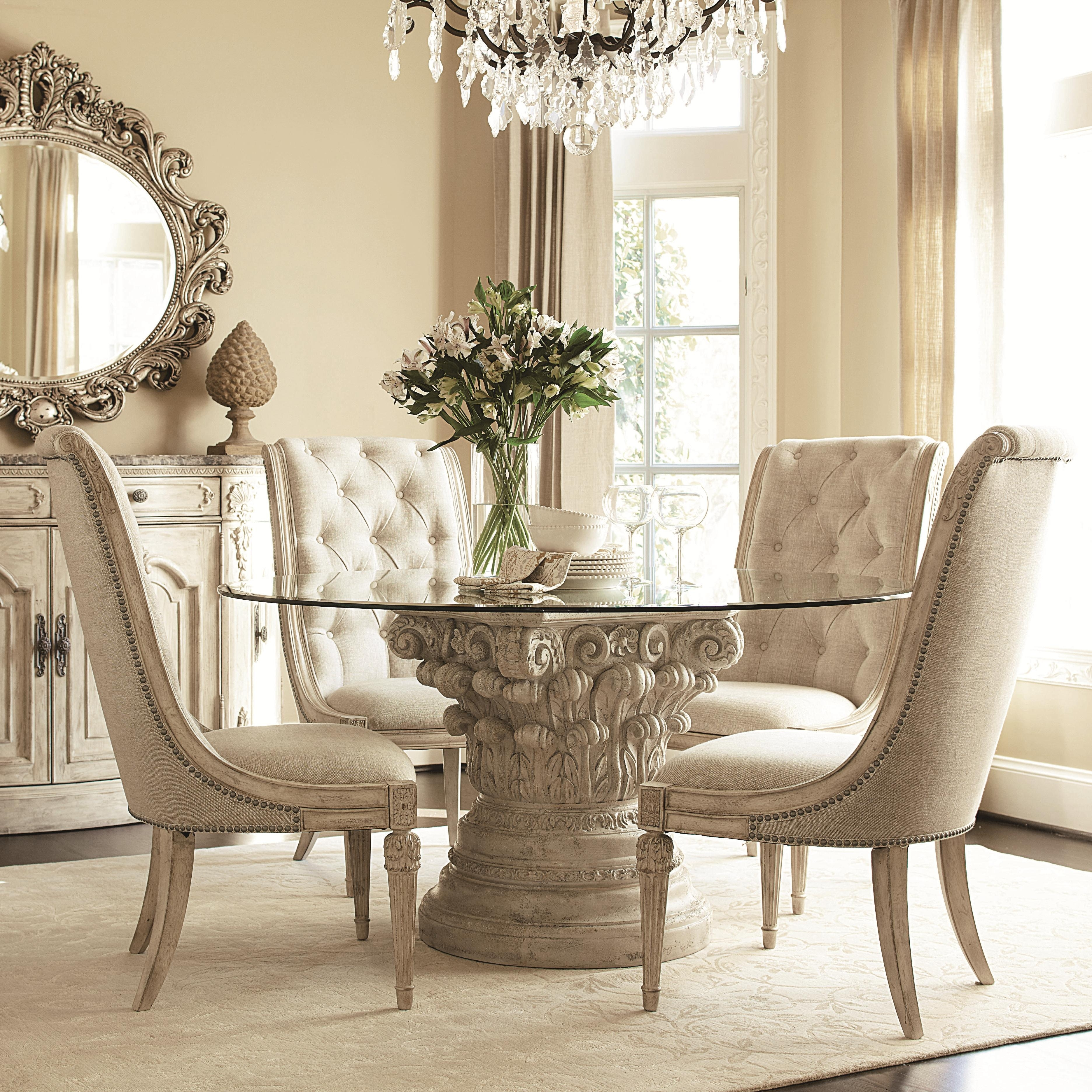 American Drew Jessica Mcclintock Home – The Boutique Collection 5 For Recent Caira Black 5 Piece Round Dining Sets With Diamond Back Side Chairs (View 9 of 20)