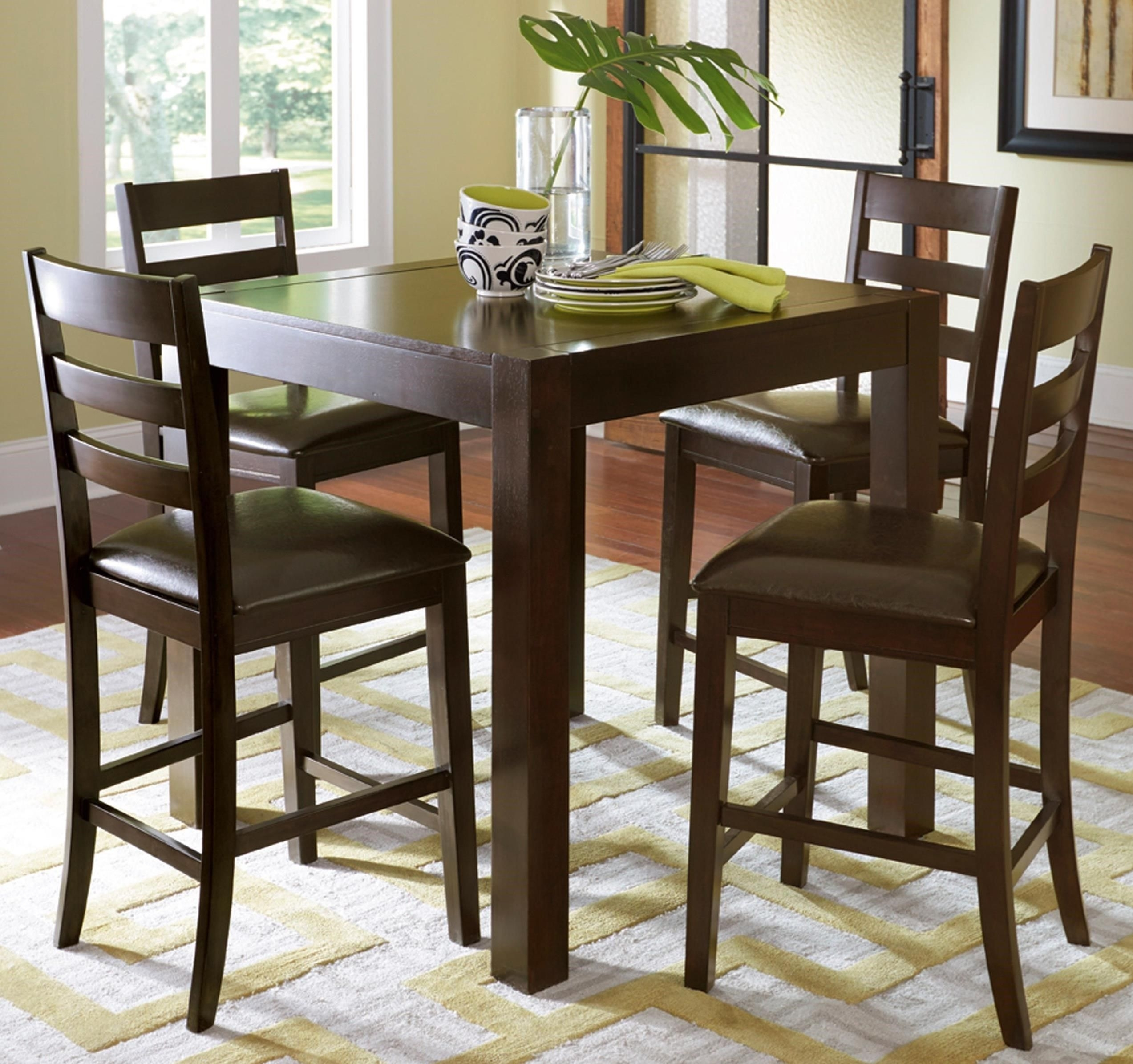 Amini 5 Piece Butterfly Counter Table Setprogressive Furniture In Most Recently Released Hyland 5 Piece Counter Sets With Bench (View 19 of 20)