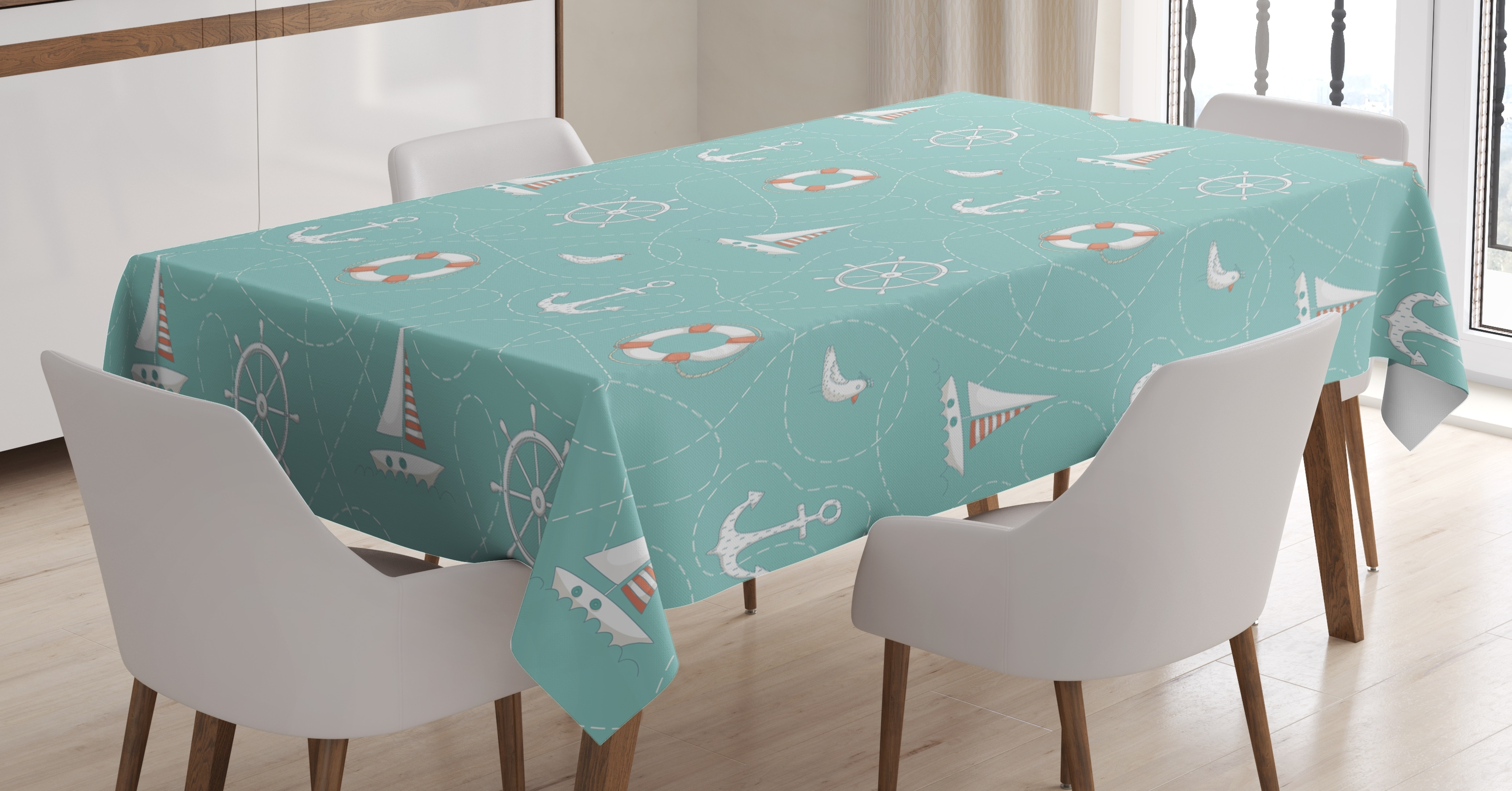 Anchor Tablecloth, Nautical Arrangement With Seagull Helm And With Regard To 2017 Helms Rectangle Dining Tables (Image 2 of 20)