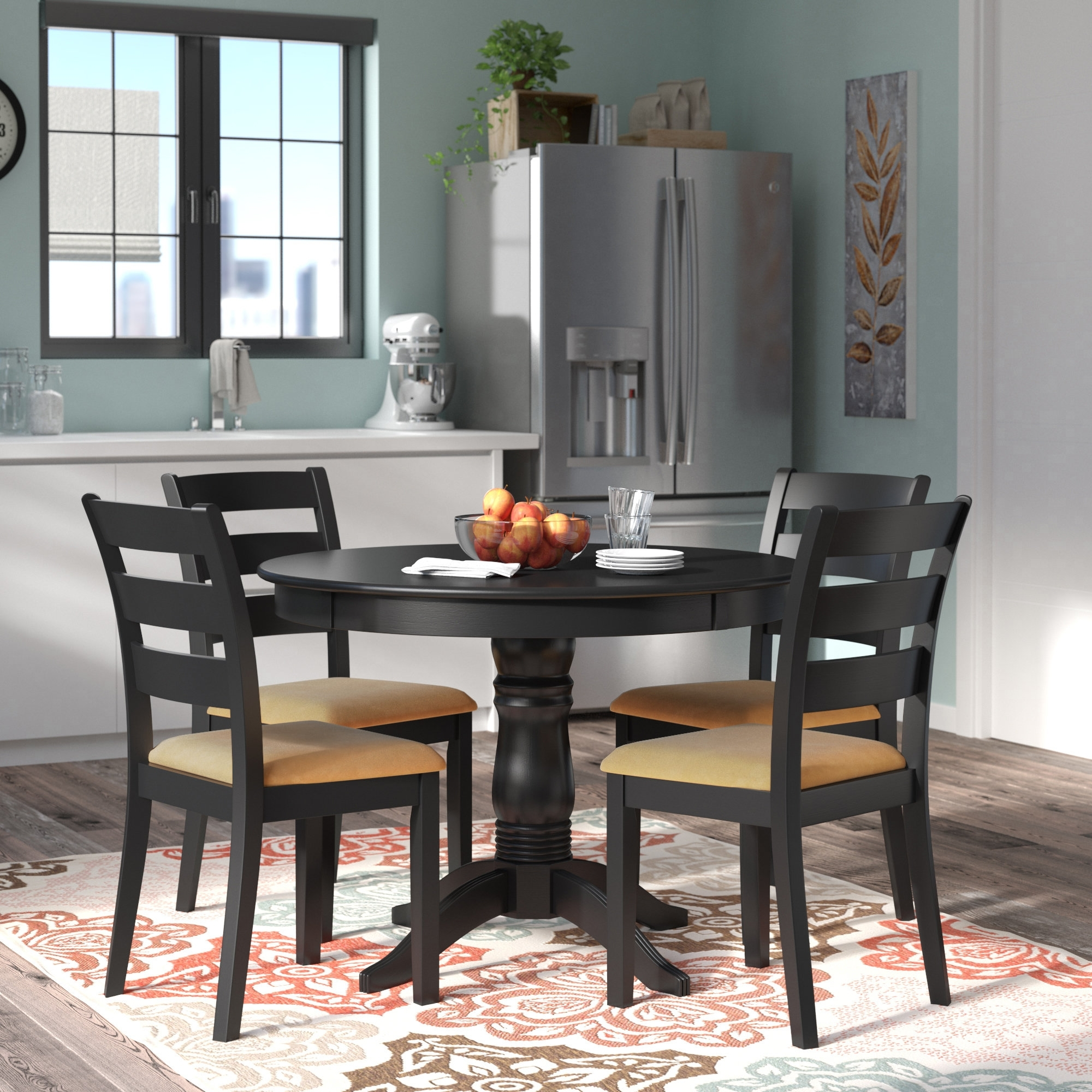 Andover Mills Oneill Modern 5 Piece Ladder Back Dining Set & Reviews In Best And Newest Candice Ii 5 Piece Round Dining Sets (Image 1 of 20)