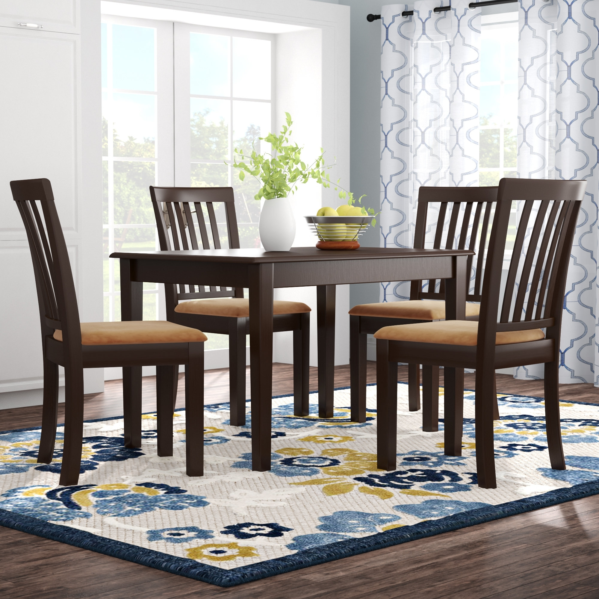 Andover Mills Oneill Modern 5 Piece Upholstered Dining Set & Reviews In Most Popular Craftsman 5 Piece Round Dining Sets With Uph Side Chairs (Image 3 of 20)