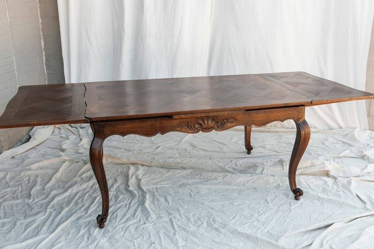 Antique French Louis Xv Style Draw Leaf Dining Table With Parquet With Latest Parquet Dining Tables (Image 3 of 20)