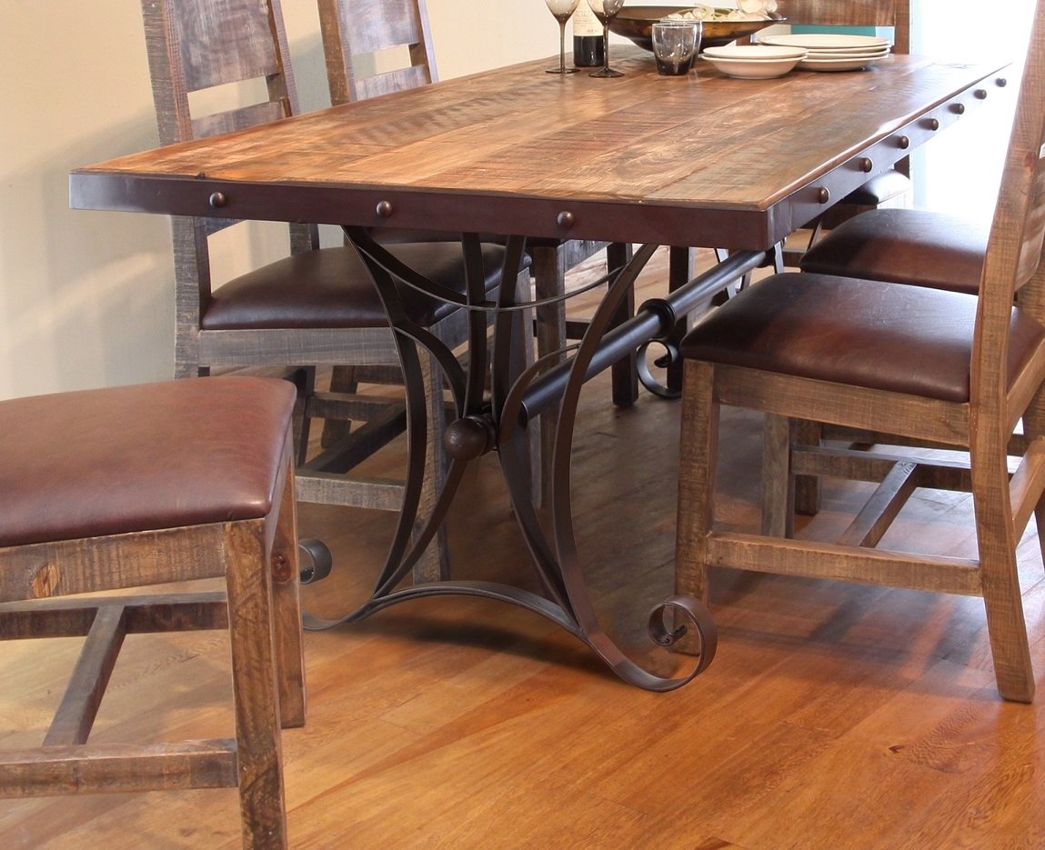 "Antique Multicolor 79"" Dining Table With Iron Base Throughout 2017 Iron And Wood Dining Tables (View 9 of 20)"