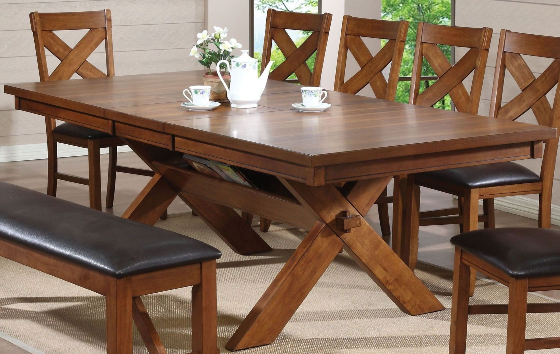 Apollo Walnut Extendable Rectangular Dining Table From Acme Inside Latest Carly Rectangle Dining Tables (Image 4 of 20)