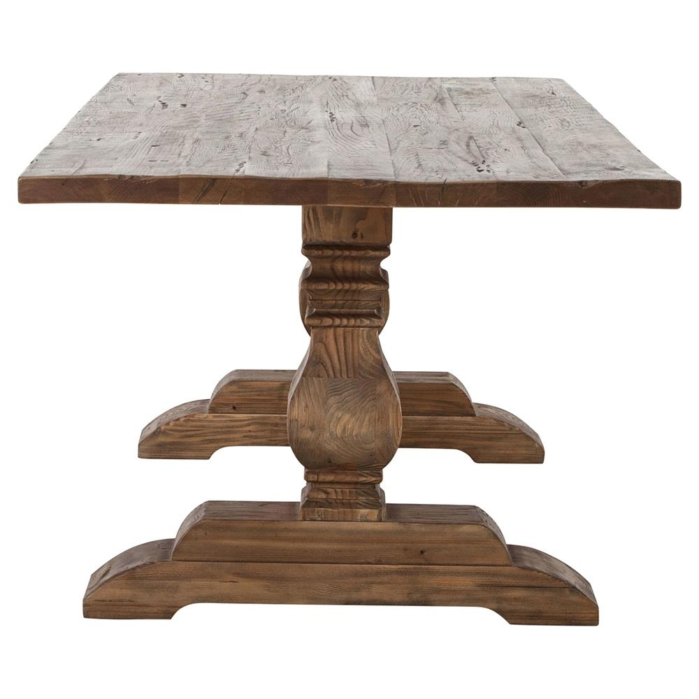 Arbois French Country Bleached Oak Trestle Dining Table – 87 Inch Intended For Latest 87 Inch Dining Tables (View 3 of 20)
