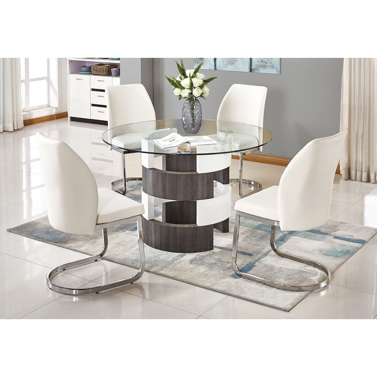 Argot White 5 Pc Dining Room | Badcock & More Pertaining To Current Valencia 5 Piece Round Dining Sets With Uph Seat Side Chairs (Image 5 of 20)