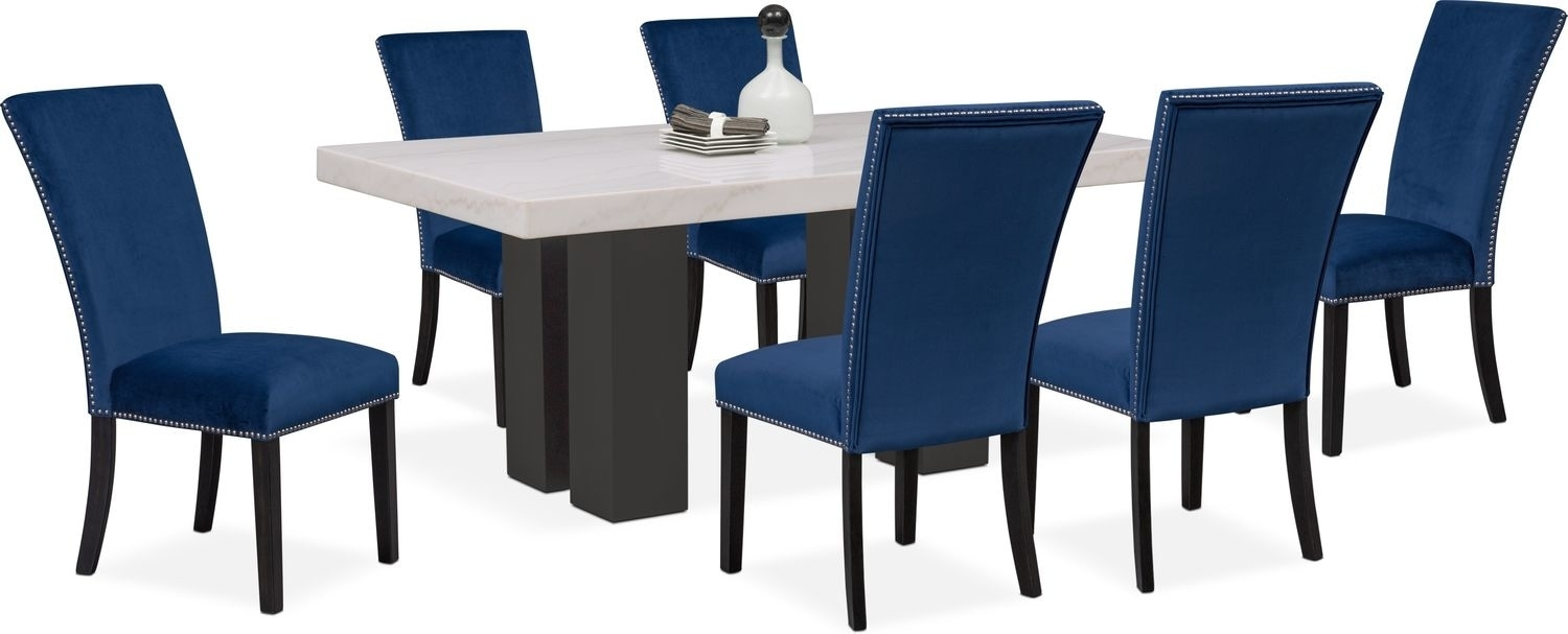 Artemis Dining Table And 6 Upholstered Side Chairs – Blue | American In Most Popular Gavin 6 Piece Dining Sets With Clint Side Chairs (Image 1 of 20)