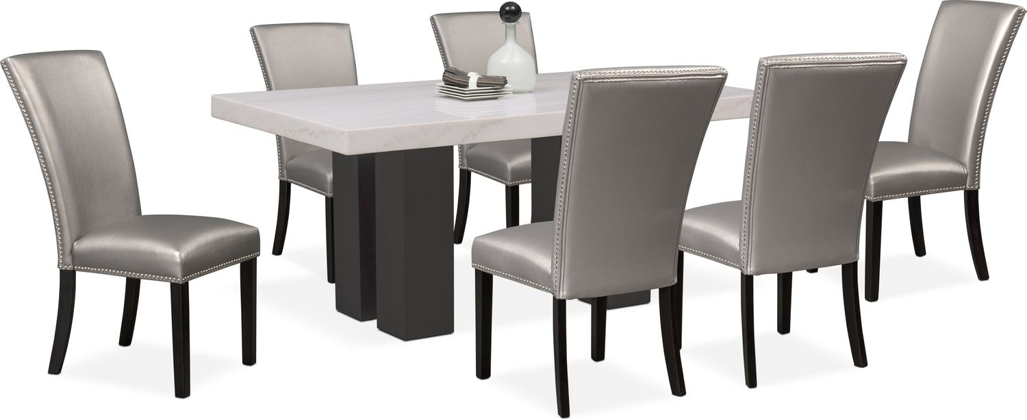 Artemis Dining Table And 6 Upholstered Side Chairs – Gray | American With Best And Newest Gavin 7 Piece Dining Sets With Clint Side Chairs (Image 1 of 20)