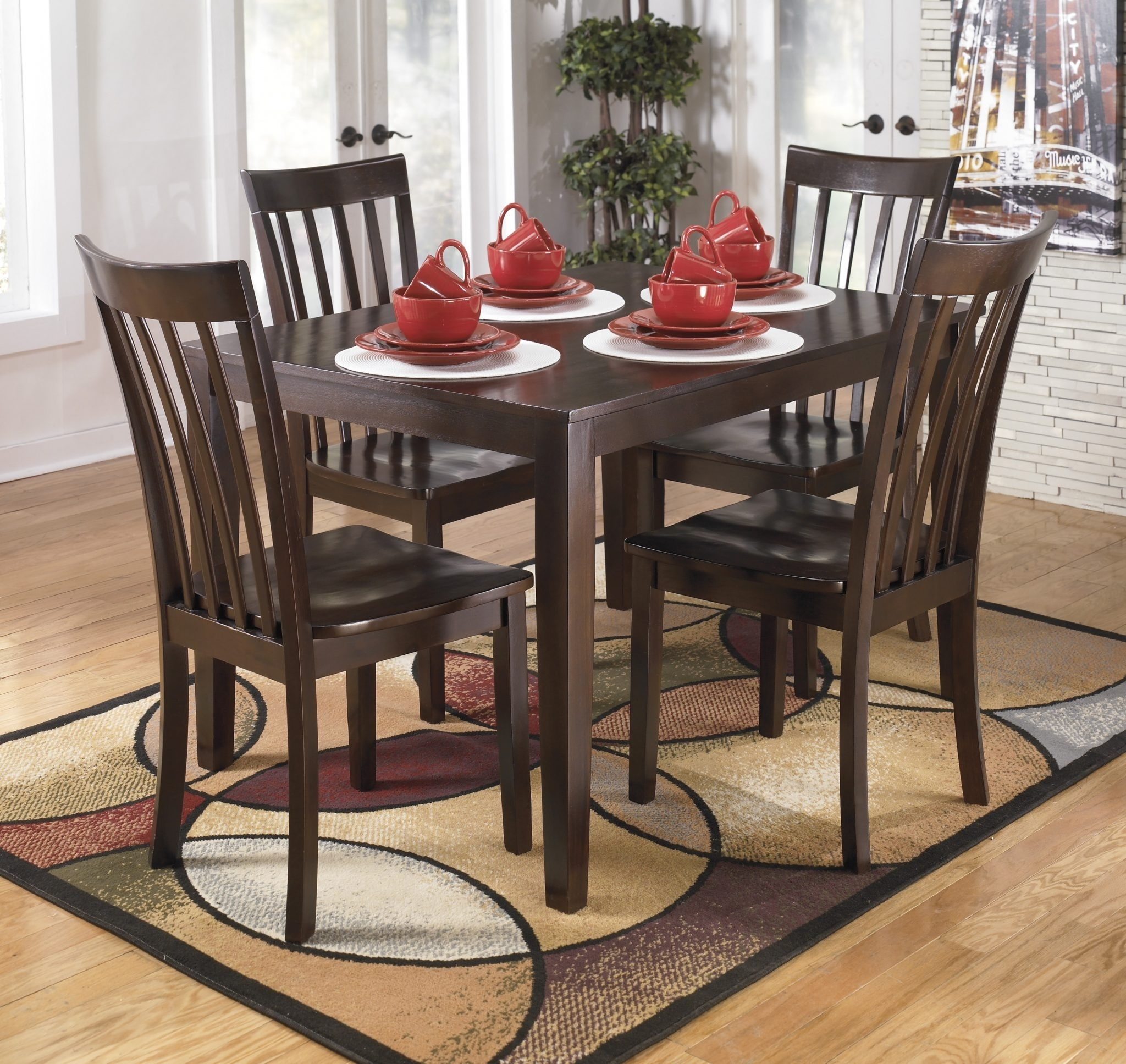 Ashley D258 225 Hyland Table And 4 Chairs | Best Furniture Mentor Oh With Regard To Most Up To Date Hyland 5 Piece Counter Sets With Bench (View 6 of 20)
