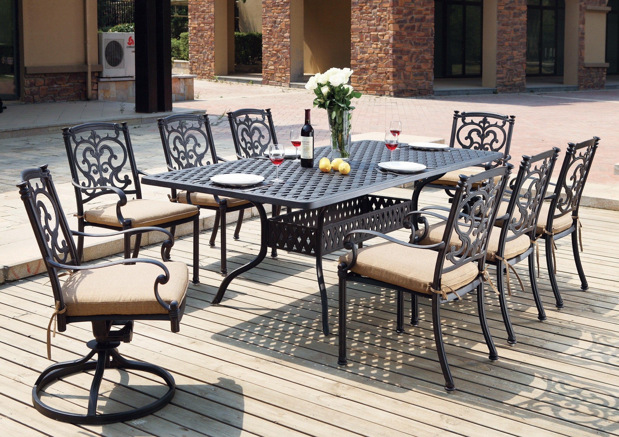 Astoria Grand Palazzo Sasso Traditional 9 Piece Dining Set With For 2017 Palazzo Rectangle Dining Tables (Image 2 of 20)