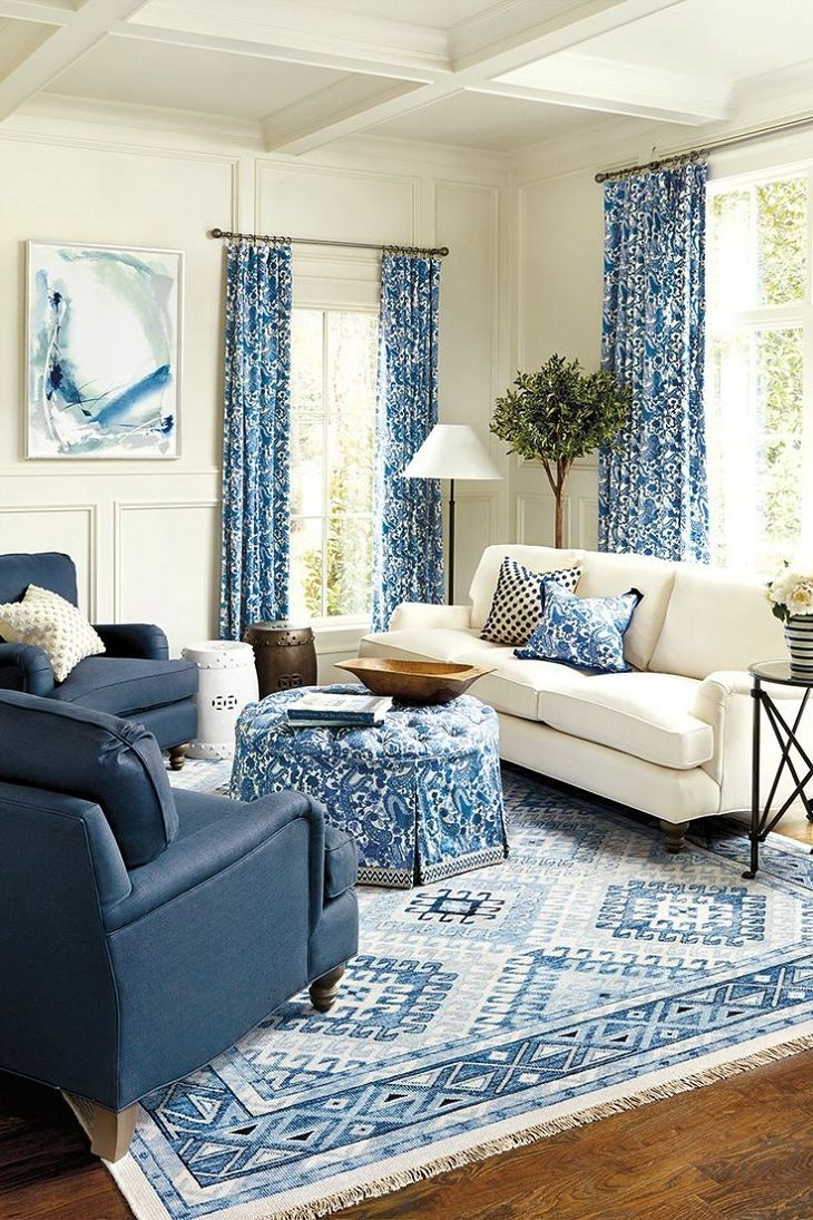 Astounding Blue Living Room Sets Chairs Sofa White Couch Dark Blue With Recent Weaver Dark 7 Piece Dining Sets With Alexa White Side Chairs (Image 9 of 20)