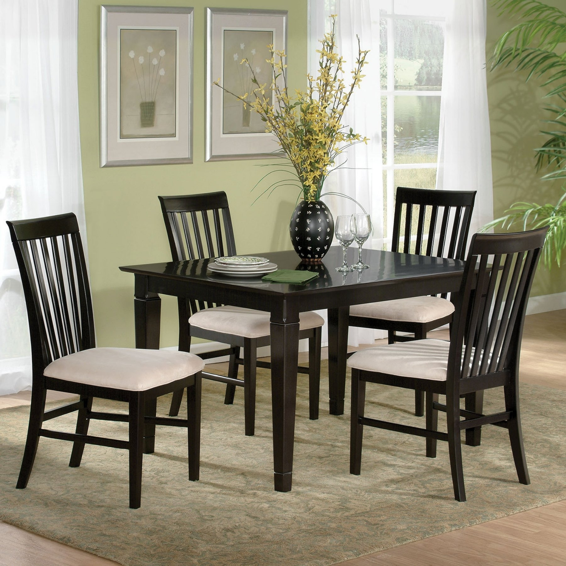 Atlantic Furniture Montego Bay 5 Piece Espresso Dining Table Set In Recent Laurent 5 Piece Round Dining Sets With Wood Chairs (Image 3 of 20)
