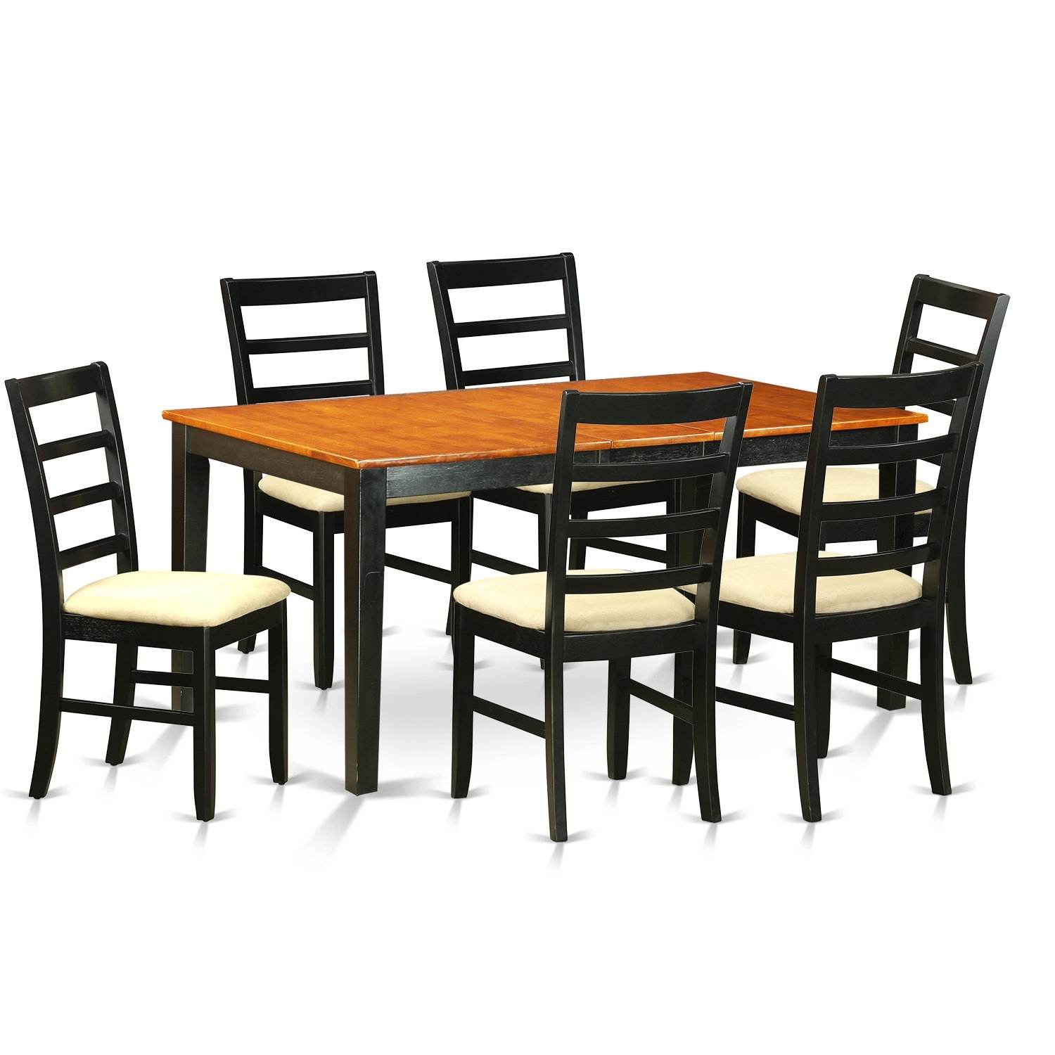 August Grove Pillar 7 Piece Wood Dining Set | Wayfair Pertaining To Best And Newest Chandler 7 Piece Extension Dining Sets With Fabric Side Chairs (View 13 of 20)