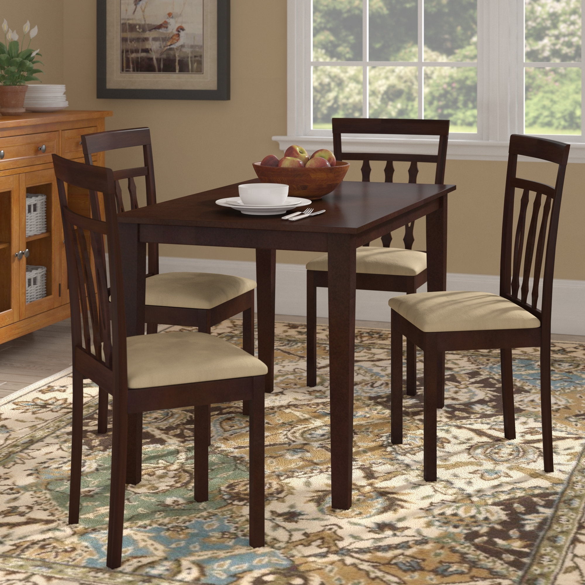 August Grove Vivien 5 Piece Dining Set & Reviews | Wayfair With Regard To 2017 Hyland 5 Piece Counter Sets With Bench (View 12 of 20)