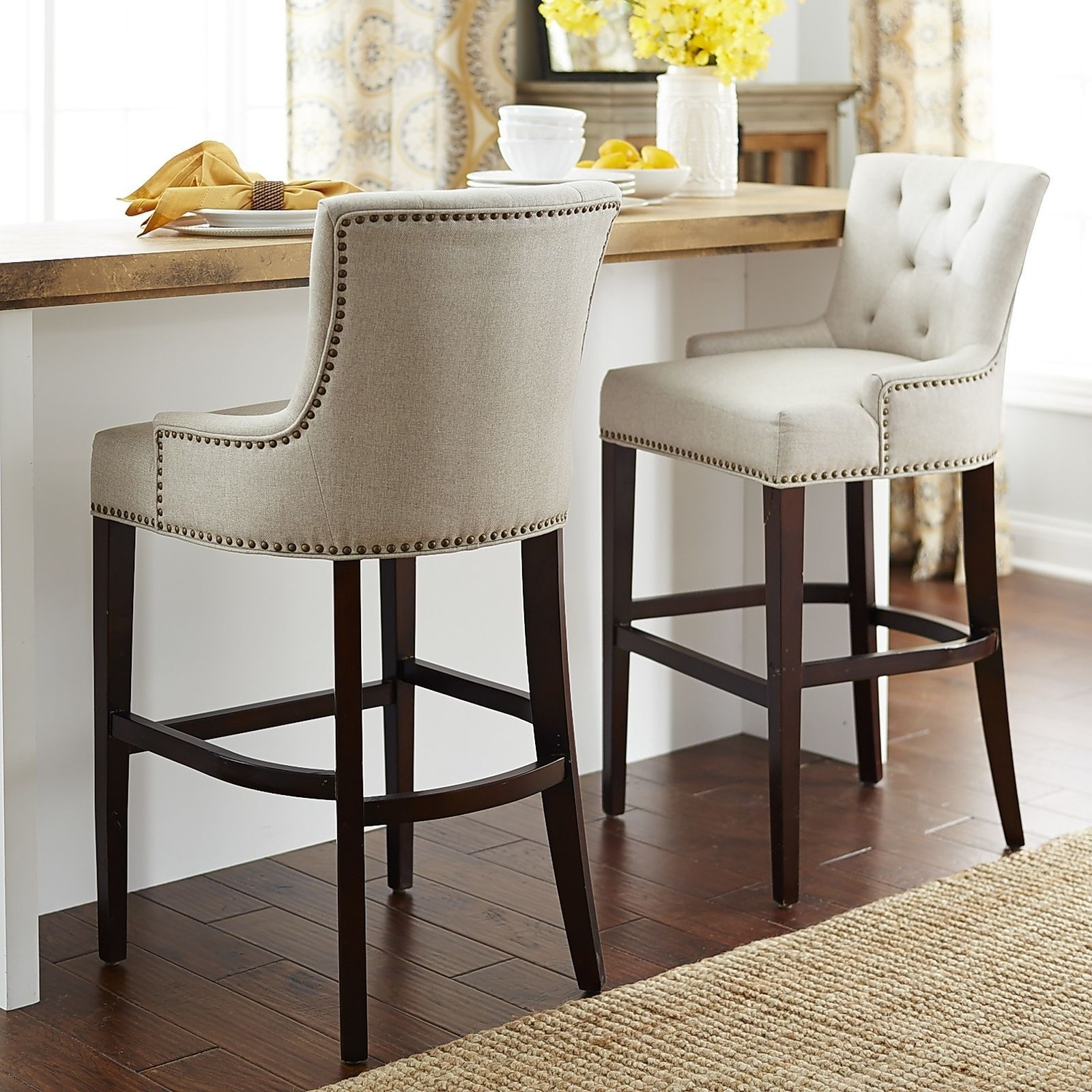 Ava Flax Counter & Bar Stool In 2018 | Downstairs Living Room Regarding Newest Laurent 7 Piece Counter Sets With Upholstered Counterstools (View 4 of 20)