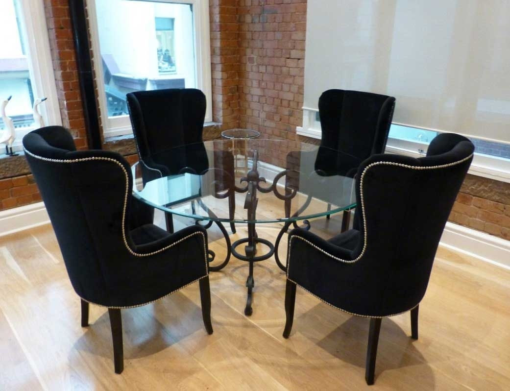 Awesome Black Wing Back Dining Chair With Round Glass Dining Table For Latest Wyatt 6 Piece Dining Sets With Celler Teal Chairs (Image 5 of 20)