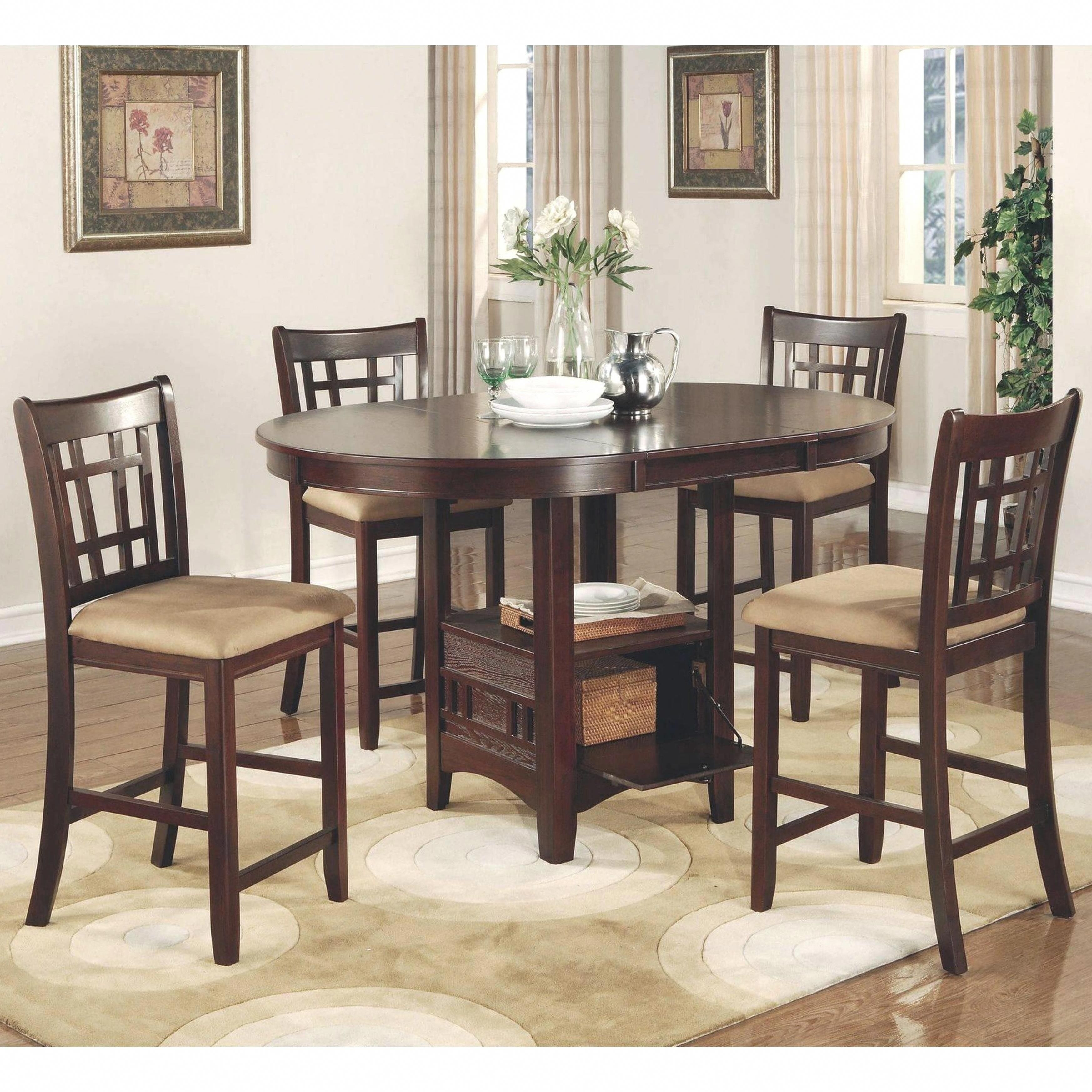 Azalea Warm Brown Counter Height Dining Set (1 Table – 6 Stools Within Best And Newest Craftsman 7 Piece Rectangle Extension Dining Sets With Uph Side Chairs (Image 4 of 20)