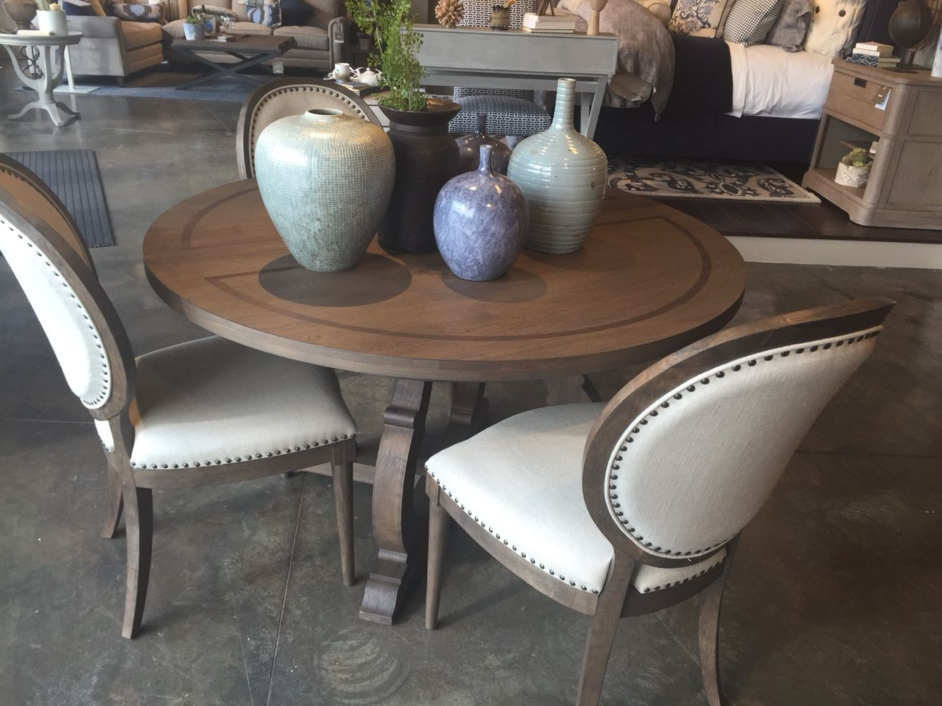 Bassett – Artisanal Round Table, Chadwick Brown | Hopkinton Dining For Current Artisanal Dining Tables (Image 7 of 20)