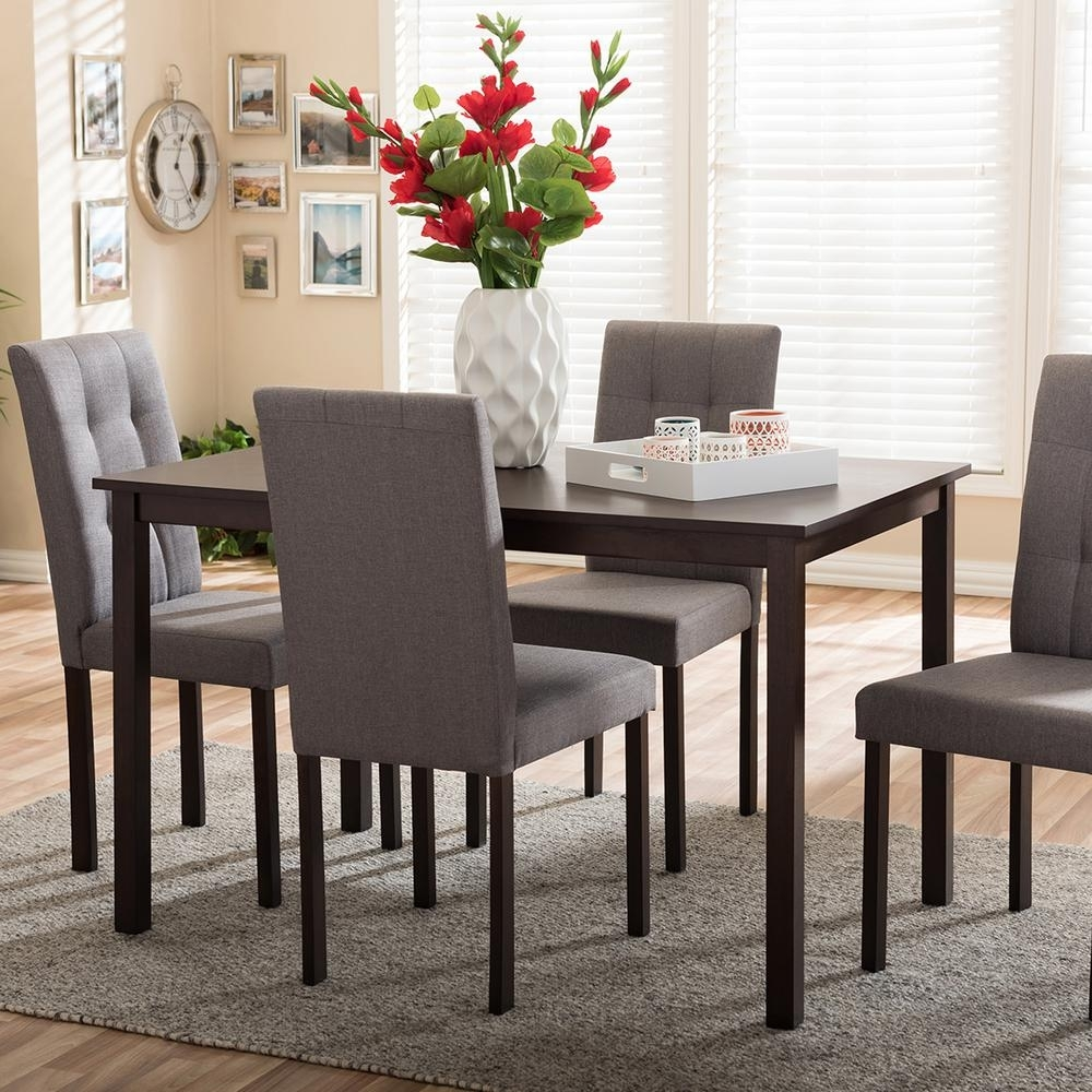 Baxton Studio Andrew 9 Grids 5 Piece Gray Fabric Upholstered Dining Throughout 2018 Laurent 7 Piece Rectangle Dining Sets With Wood Chairs (View 8 of 20)