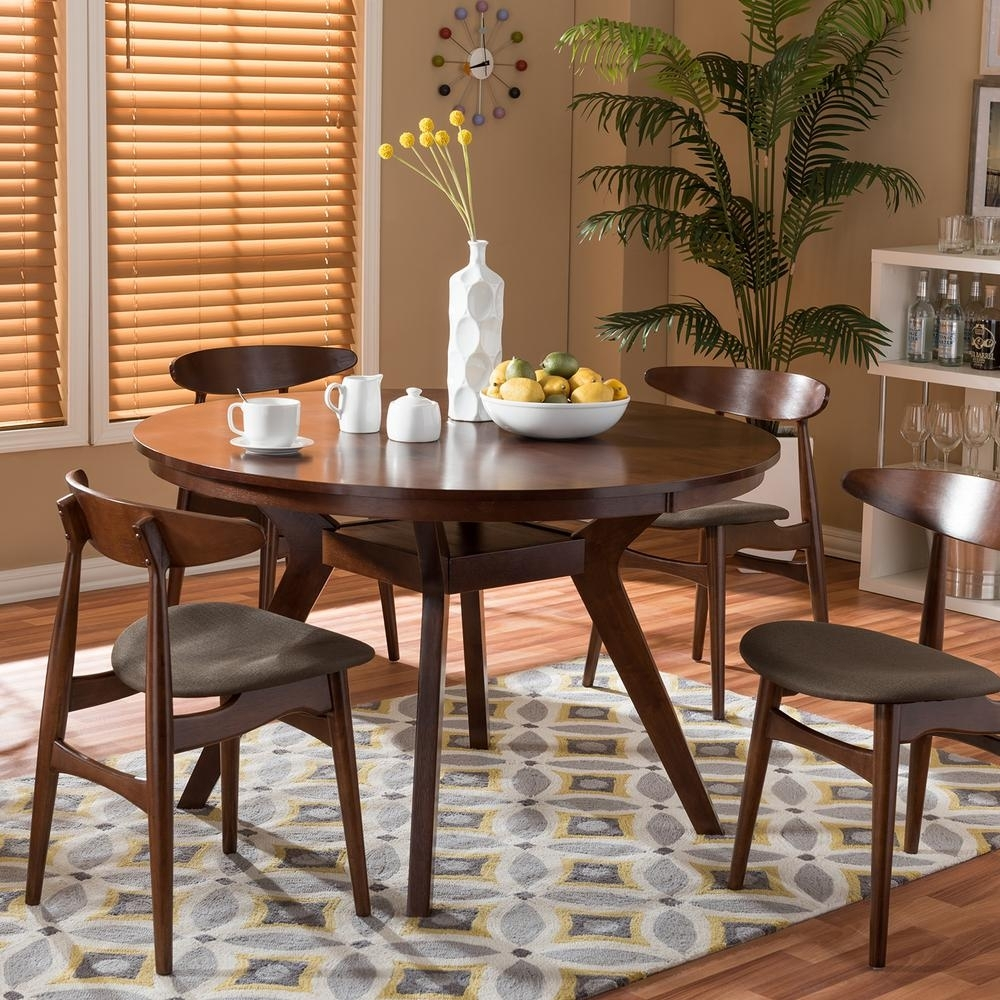 Baxton Studio – Kitchen & Dining Room Furniture – Furniture – The Pertaining To Newest Laurent 5 Piece Round Dining Sets With Wood Chairs (View 19 of 20)