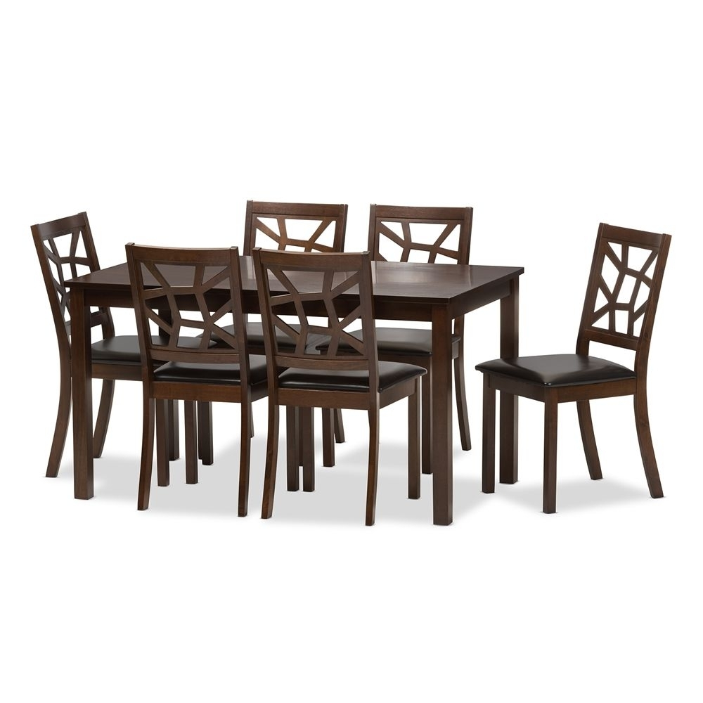 Baxton Studio Mozaika Wood And Leather Contemporary 7 Piece Dining With Regard To Most Recently Released Craftsman 7 Piece Rectangle Extension Dining Sets With Arm & Side Chairs (Image 2 of 20)