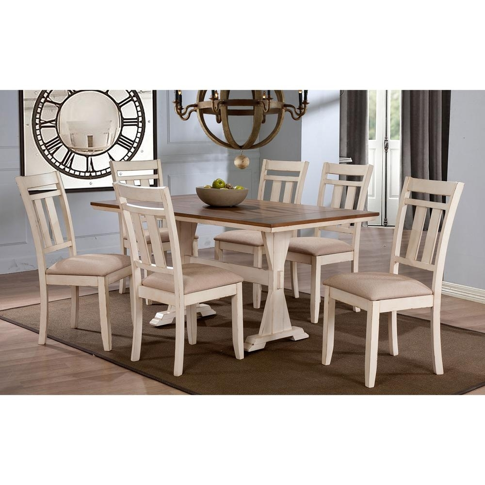 Baxton Studio Roseberry 7 Piece Beige Fabric And Distressed Wood Intended For Latest Craftsman 7 Piece Rectangle Extension Dining Sets With Uph Side Chairs (Image 5 of 20)