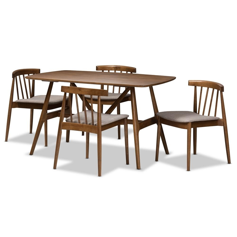 Baxton Studio Wyatt 5 Piece Beige And Walnut Brown Dining Set 8020 In Most Up To Date Wyatt Dining Tables (Image 1 of 20)