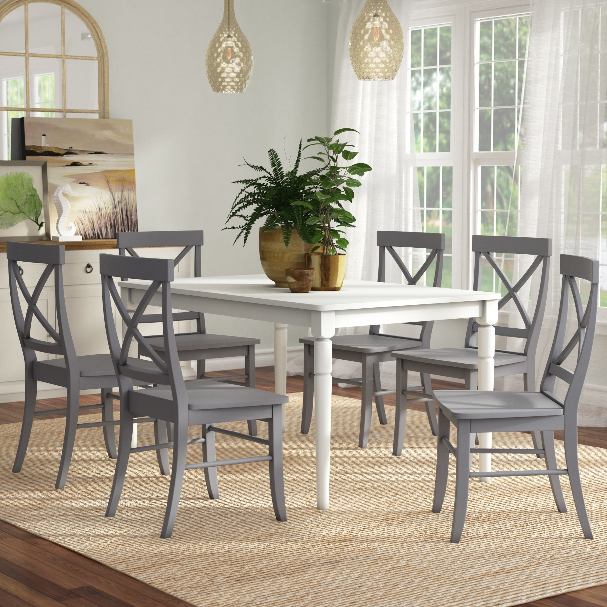 Beachcrest Home Brookwood 7 Piece Dining Set & Reviews | Wayfair Within Most Up To Date Candice Ii 7 Piece Extension Rectangular Dining Sets With Uph Side Chairs (Image 3 of 20)