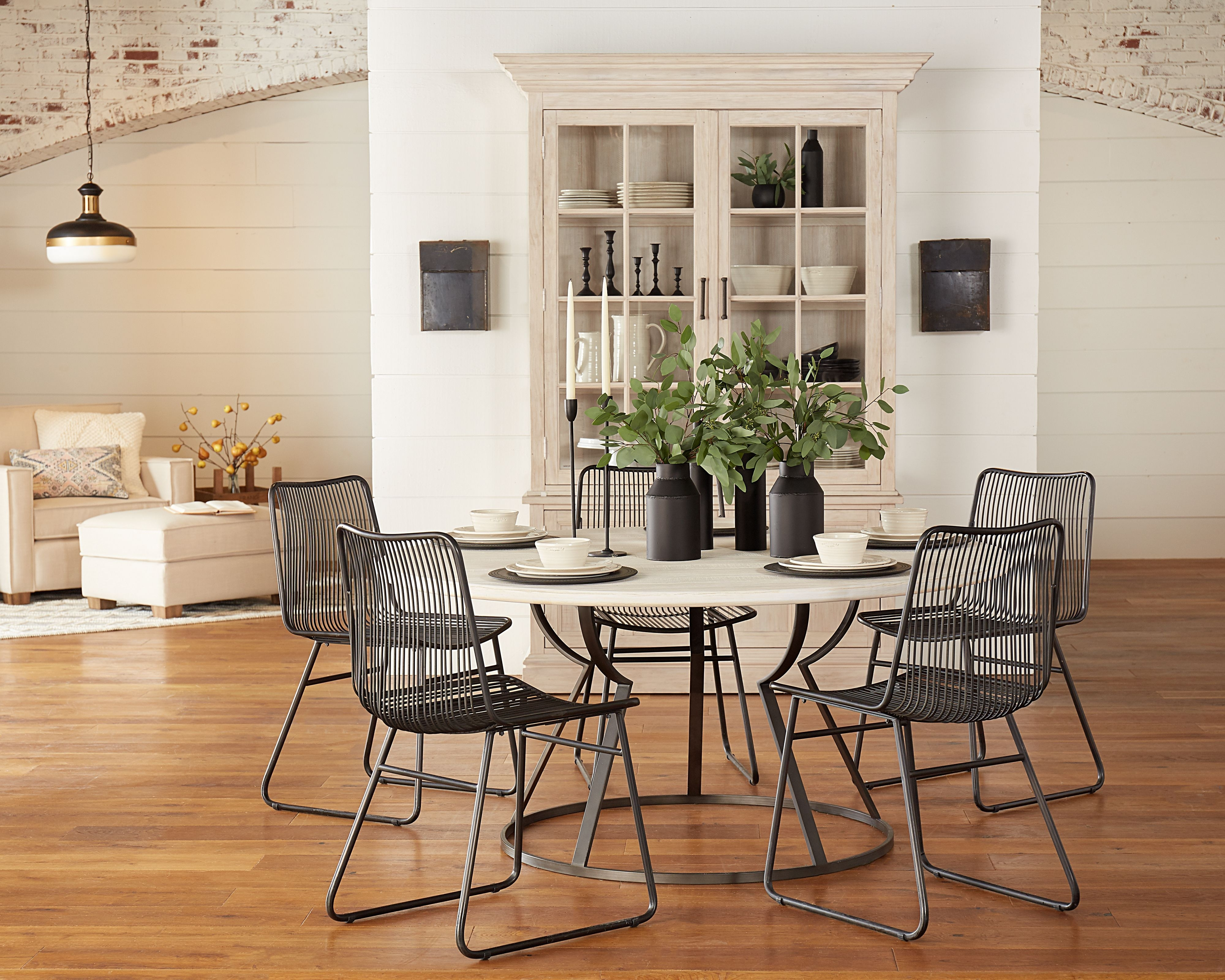 Belford Dining Table With Dru Metal Chairs – Magnolia Home | Heart Throughout Latest Magnolia Home Breakfast Round Black Dining Tables (Image 3 of 20)