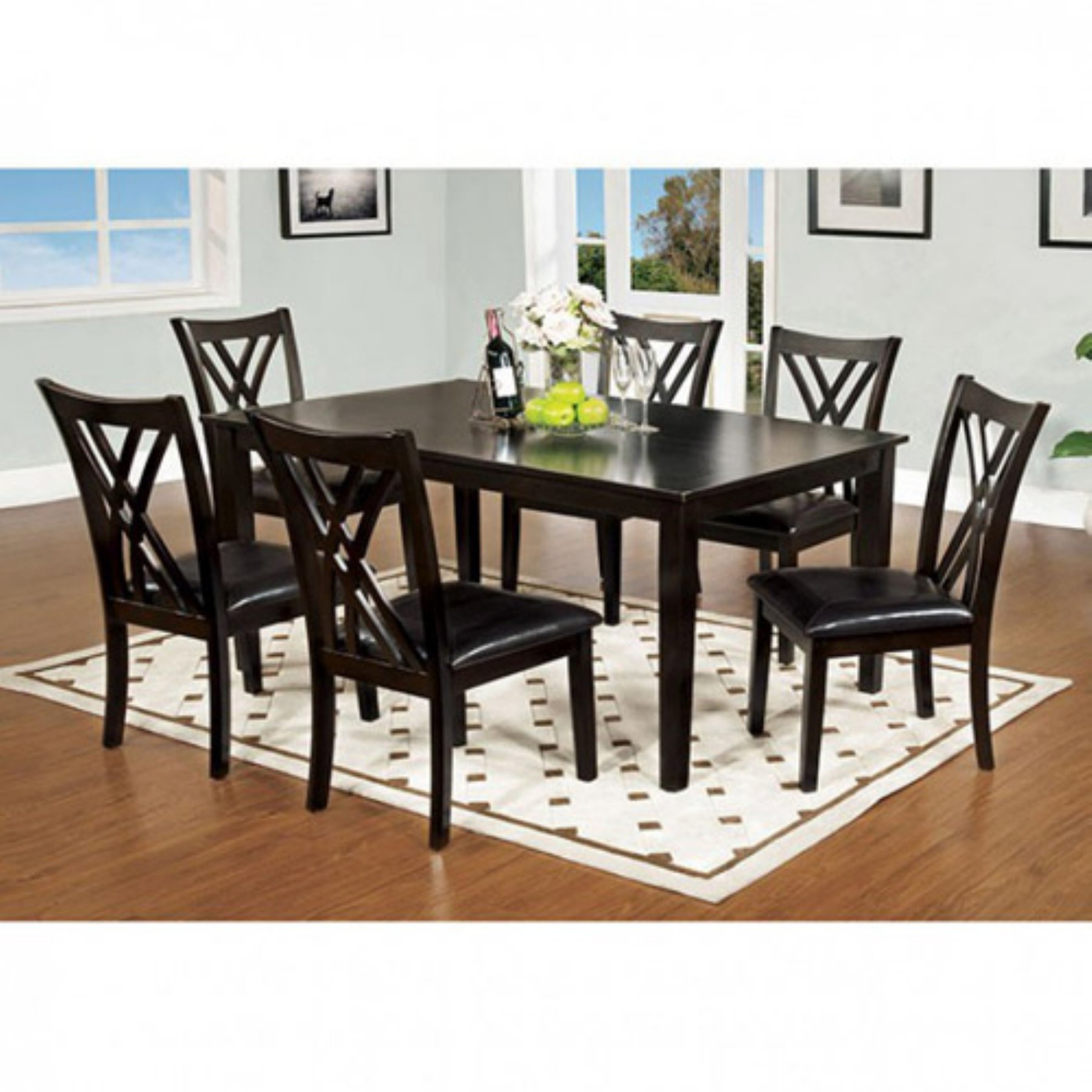 Benzara Springhill Enticing 7 Piece Rectangular Dining Table Set In With Regard To Newest Craftsman 7 Piece Rectangle Extension Dining Sets With Side Chairs (Image 6 of 20)