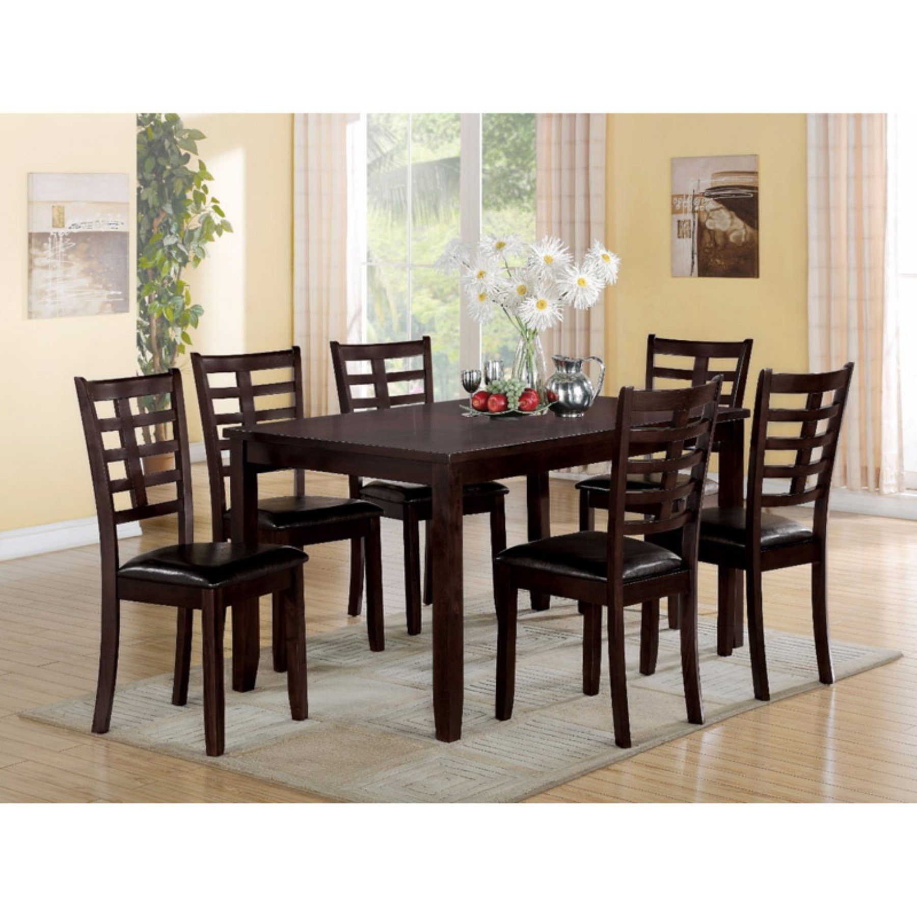 Benzara Wooden 7 Piece Rectangular Dining Table Set In 2018 Regarding Most Recently Released Market 7 Piece Dining Sets With Side Chairs (Image 2 of 20)