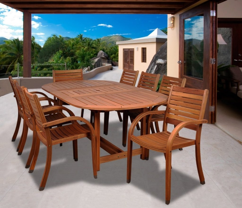 Best Eucalyptus Hardwood Furniture & Patio Sets In 2018 – Teak Patio Pertaining To 2017 Craftsman 9 Piece Extension Dining Sets With Uph Side Chairs (View 14 of 20)