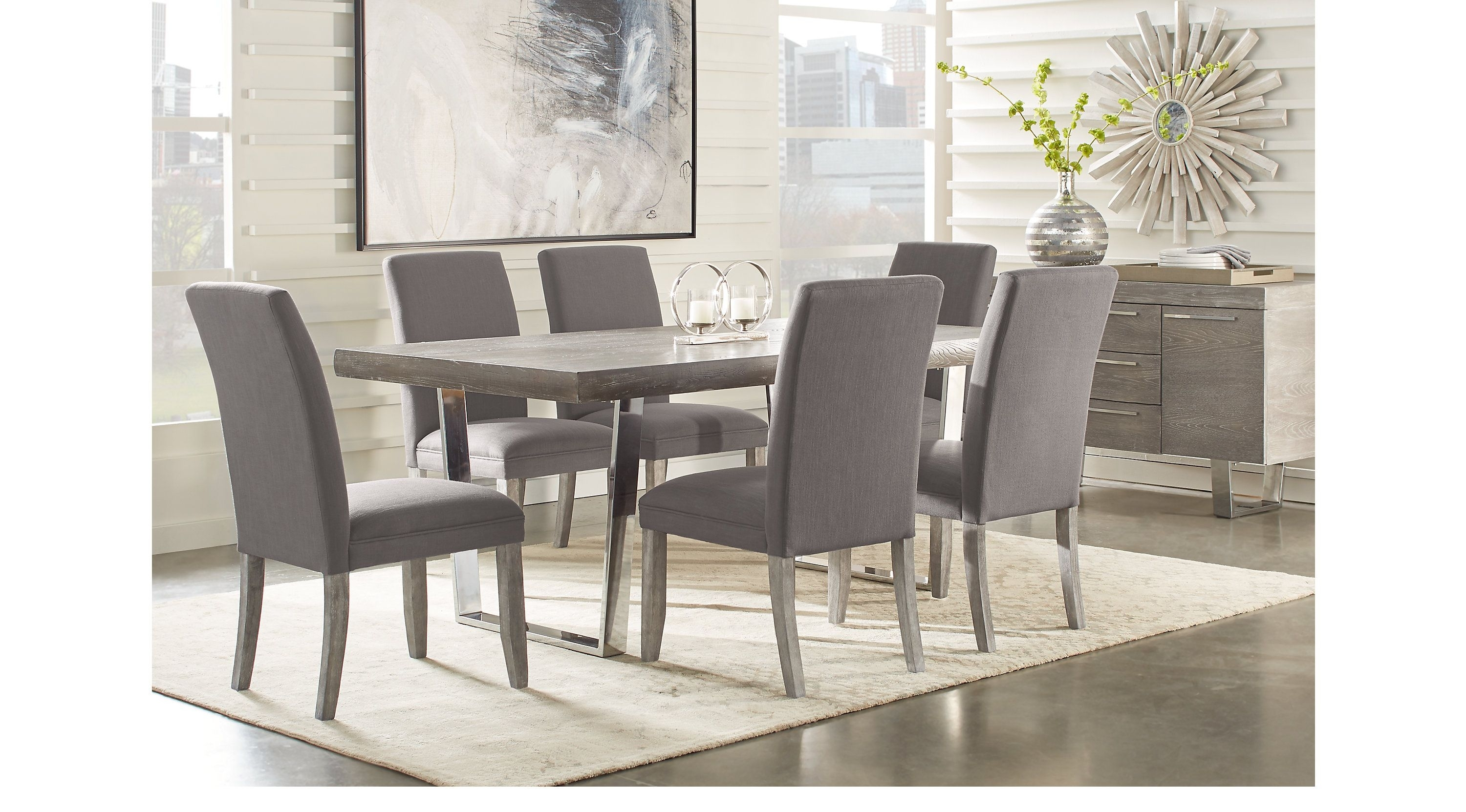Besteneer Rectangular Dining Room Table Dark Gray – Signat Regarding Latest Jaxon Grey 5 Piece Extension Counter Sets With Wood Stools (Image 3 of 20)